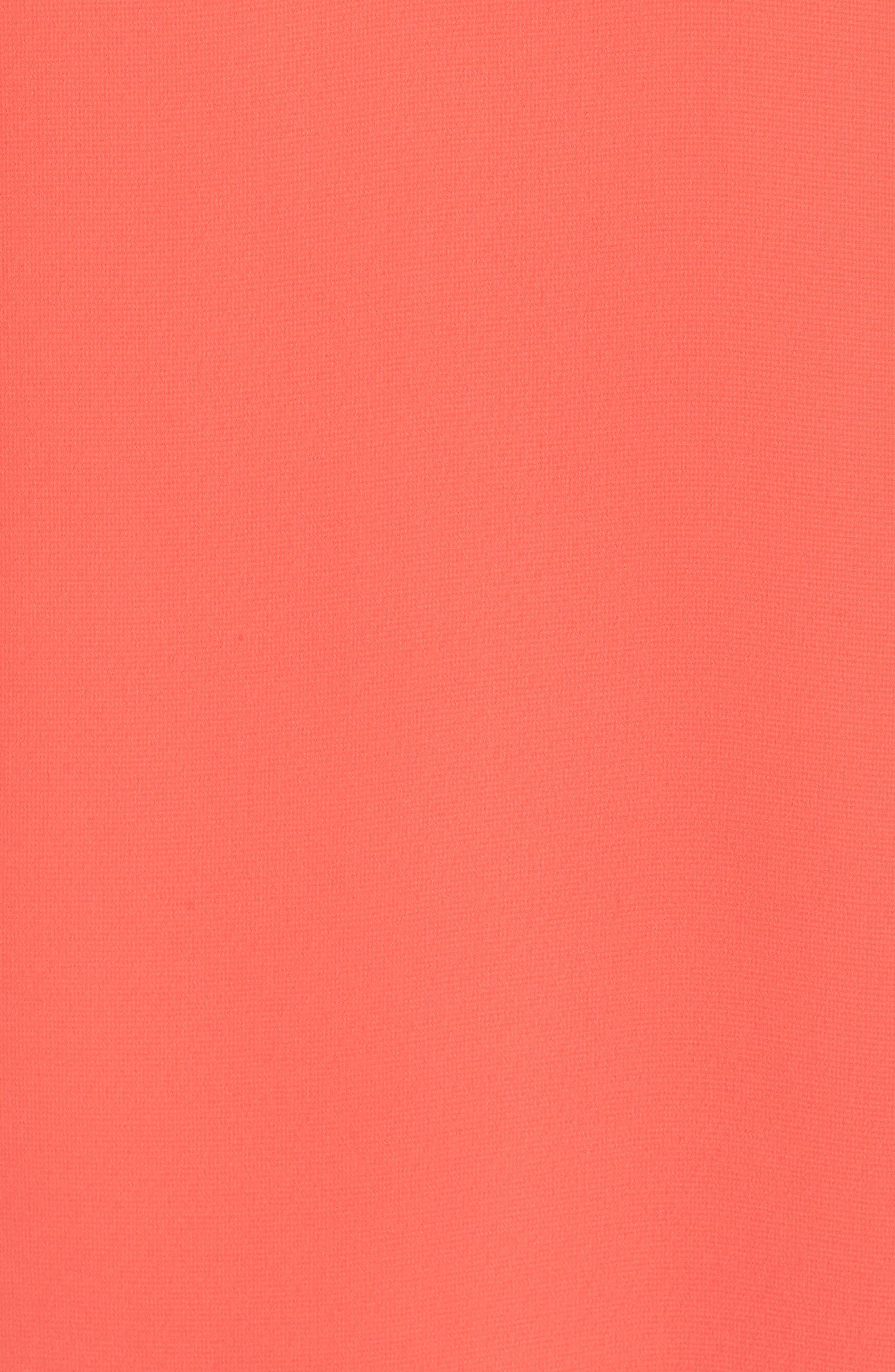 Carmen Tiered Ruffle Sleeve Shift Dress,                             Alternate thumbnail 6, color,                             Coral Crush
