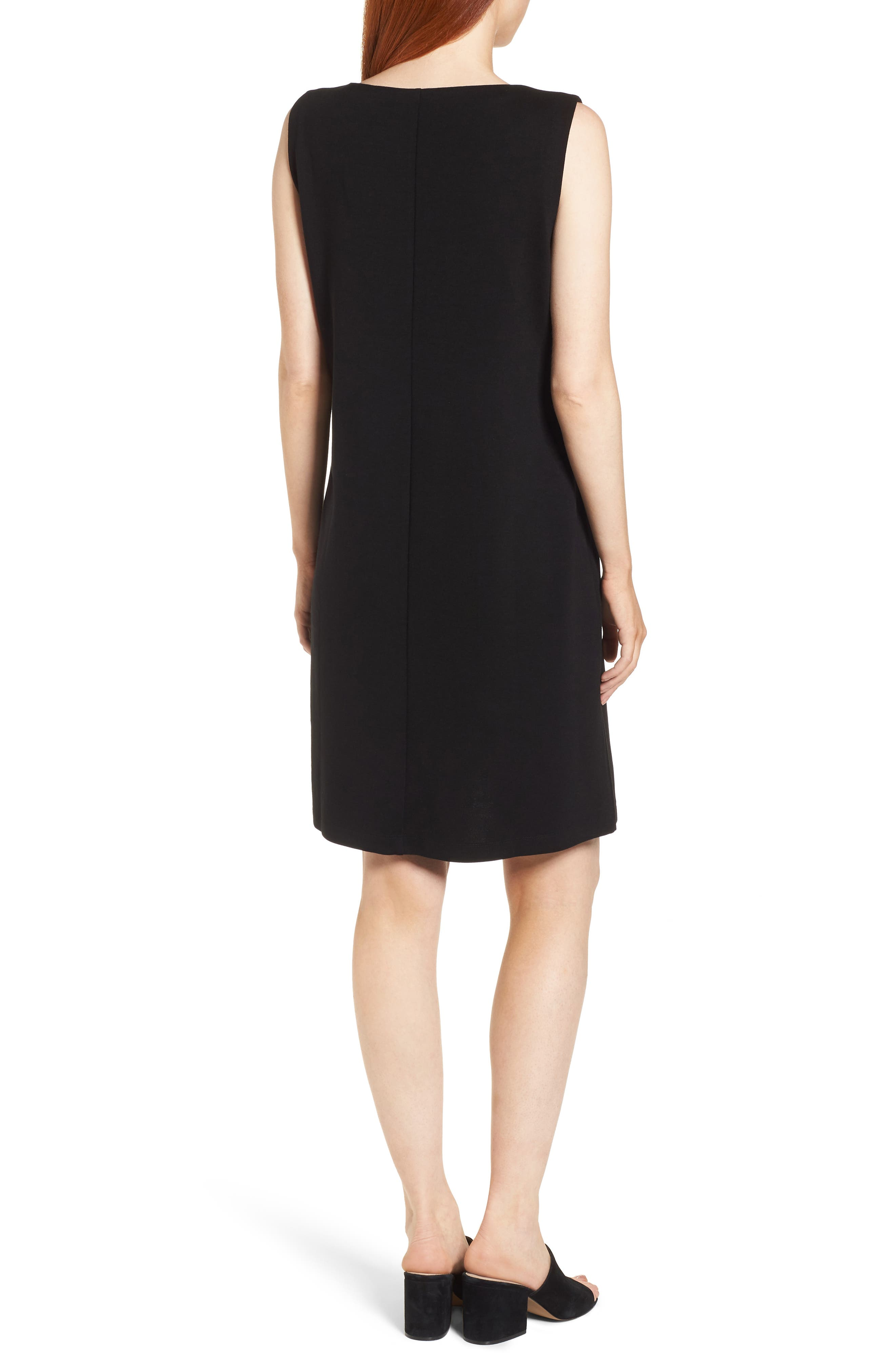 Tencel<sup>®</sup> Lyocell Blend Shift Dress,                             Alternate thumbnail 2, color,                             Black