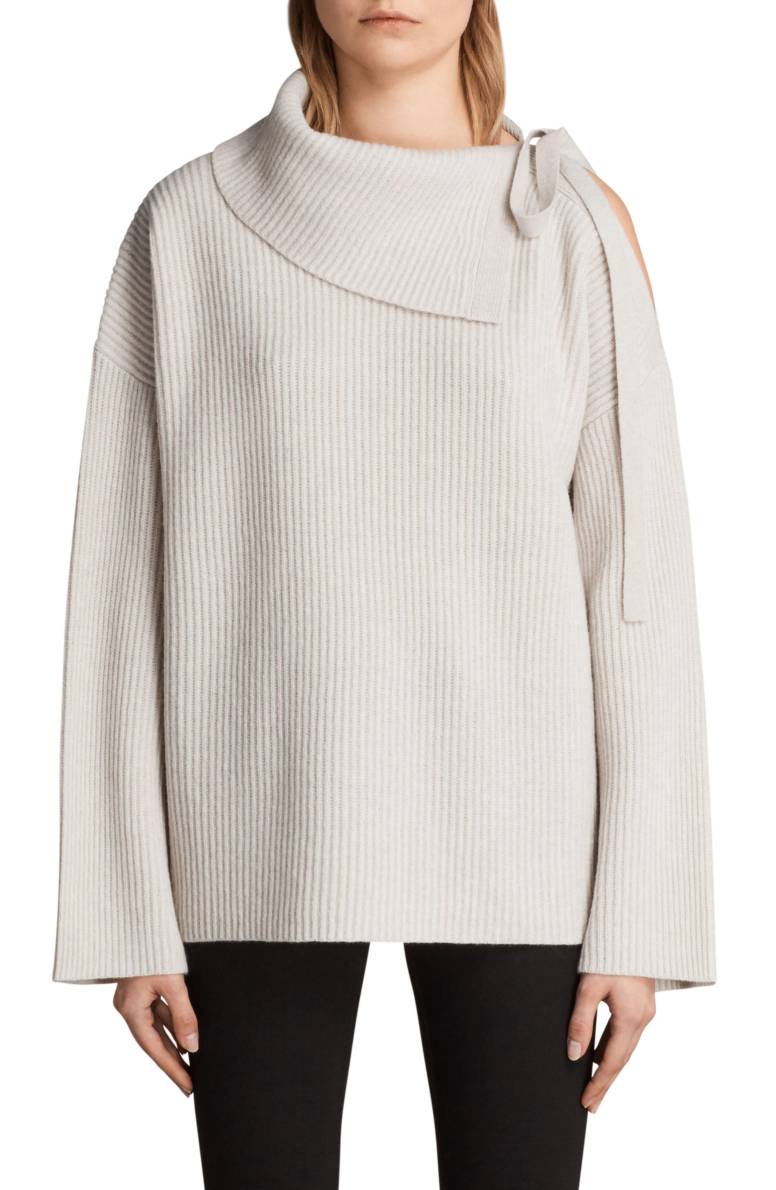 Sura Tie Neck Sweater,                             Main thumbnail 1, color,                             Wild Oat