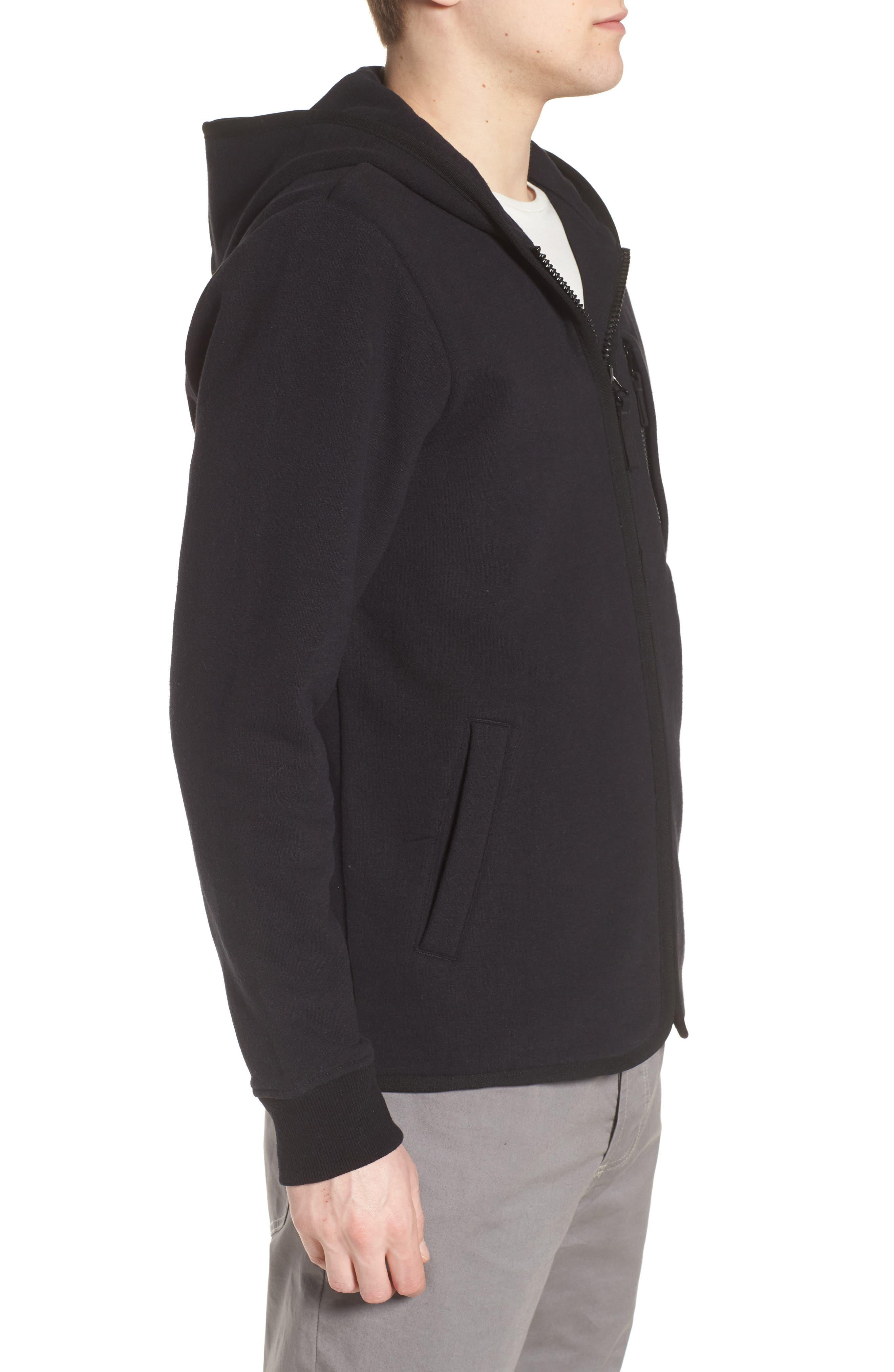 Cotton & Wool Zip Hoodie,                             Alternate thumbnail 3, color,                             Black Black