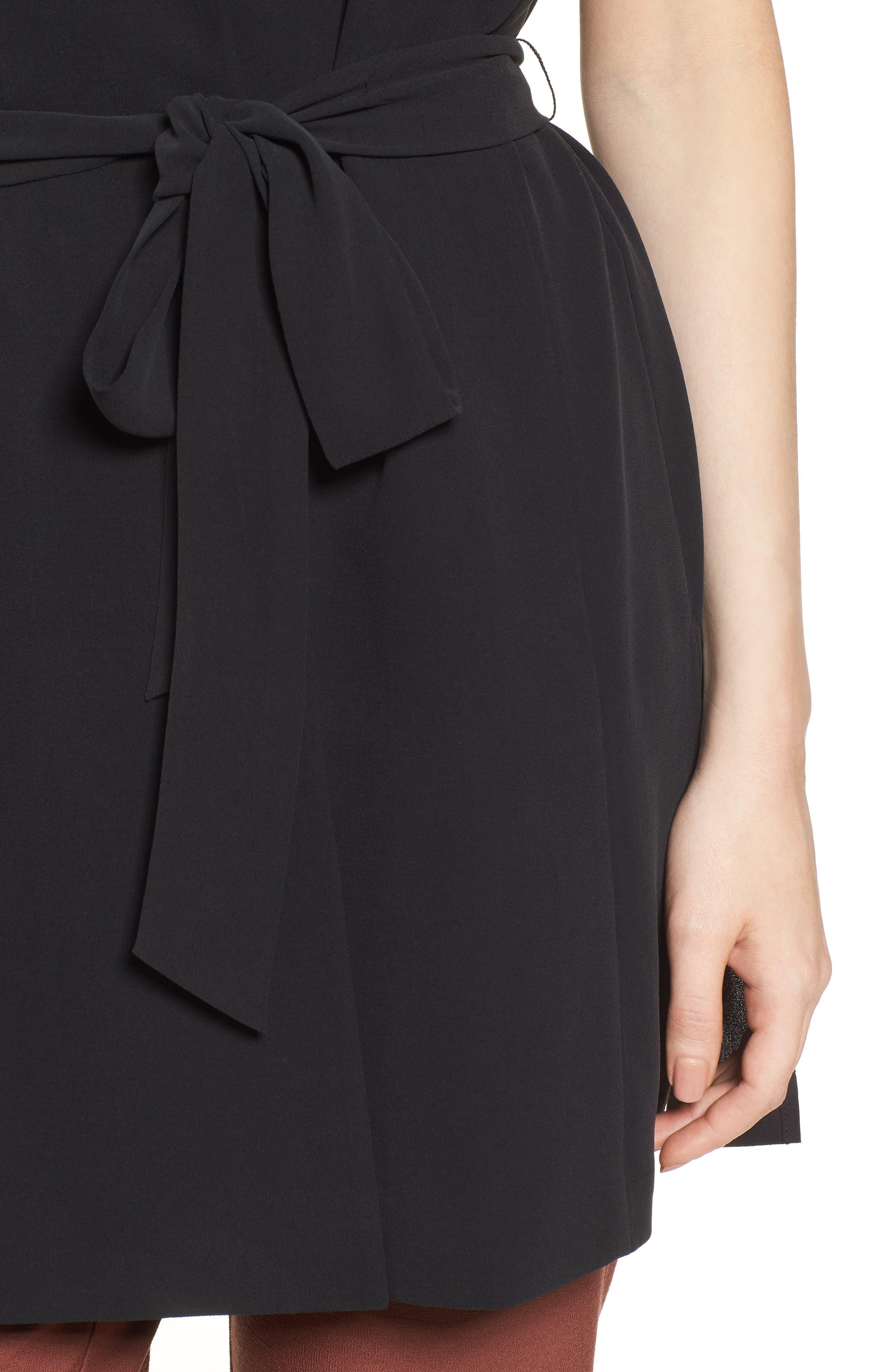 Silk Georgette Crepe Long Vest,                             Alternate thumbnail 5, color,                             Black