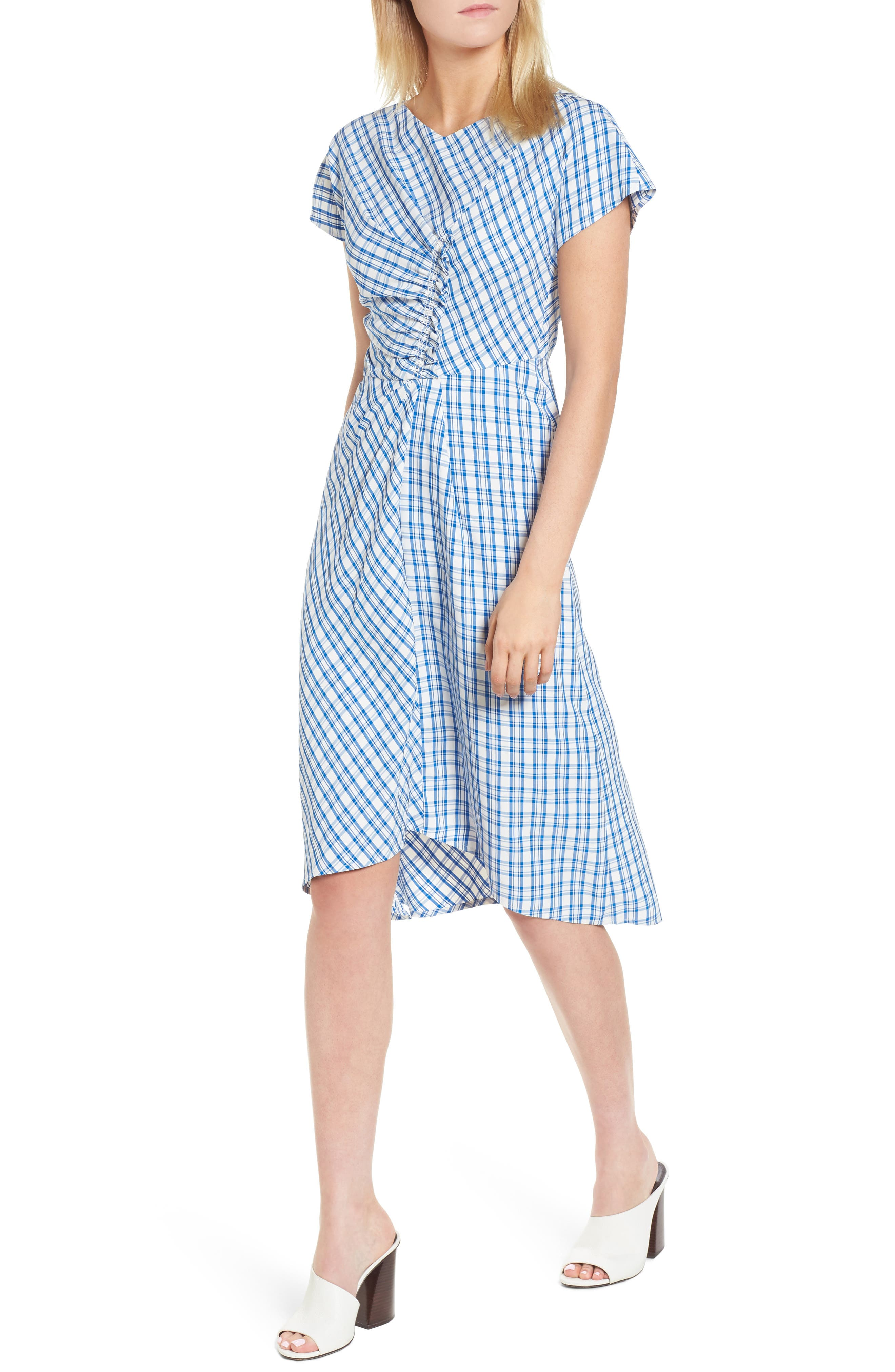 Ruched Check Midi Dress,                         Main,                         color, Blue Sodalite Kasie Check