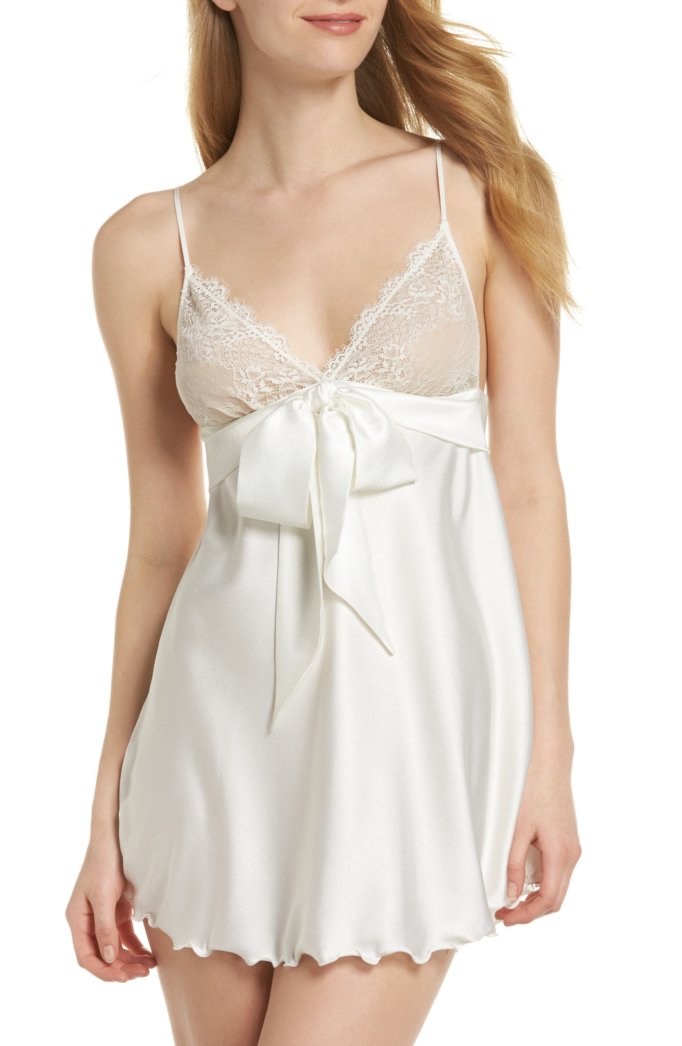 Tie Front Babydoll Chemise,                         Main,                         color, White With White