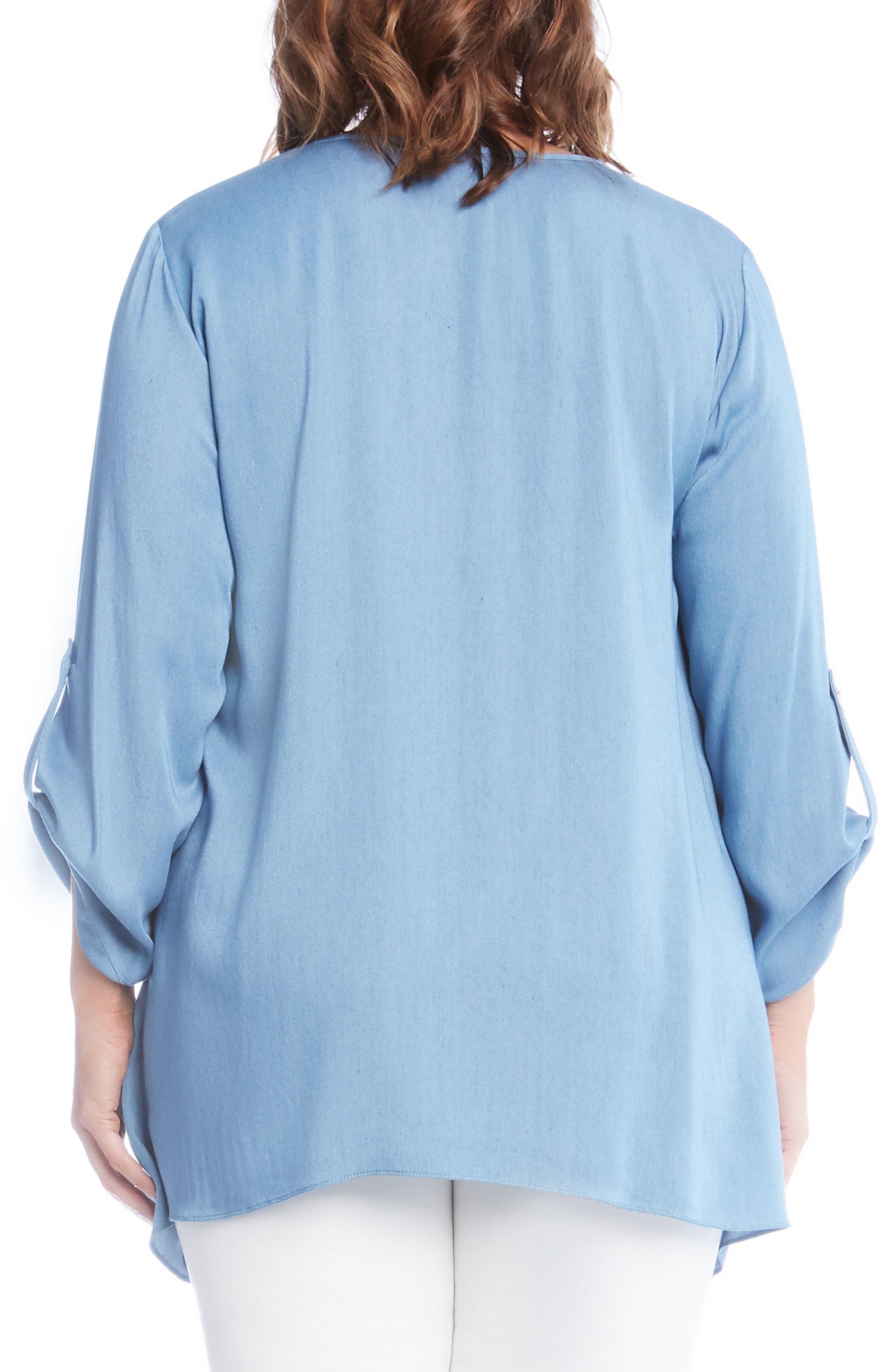 Alternate Image 2  - Karen Kane Chambray Handkerchief Top (Plus Size)