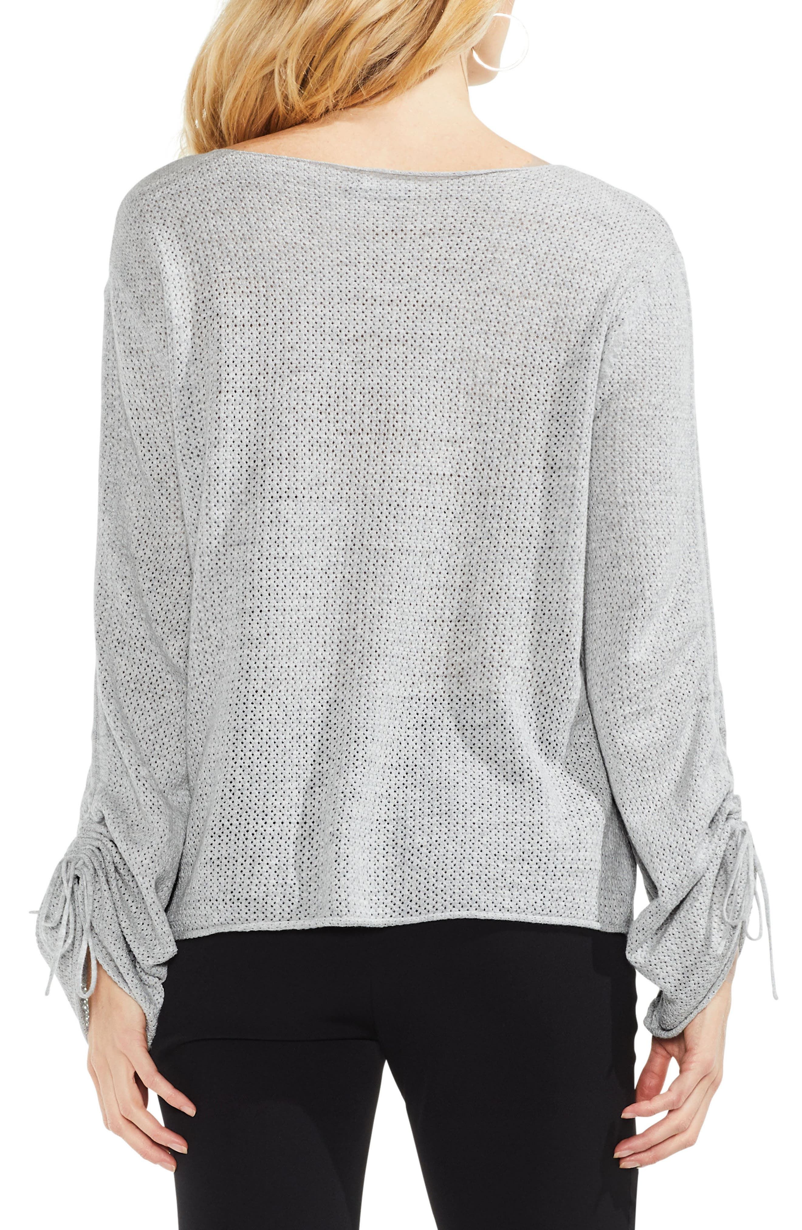 Tie Sleeve Pointelle Sweater,                             Alternate thumbnail 2, color,                             Grey Heather