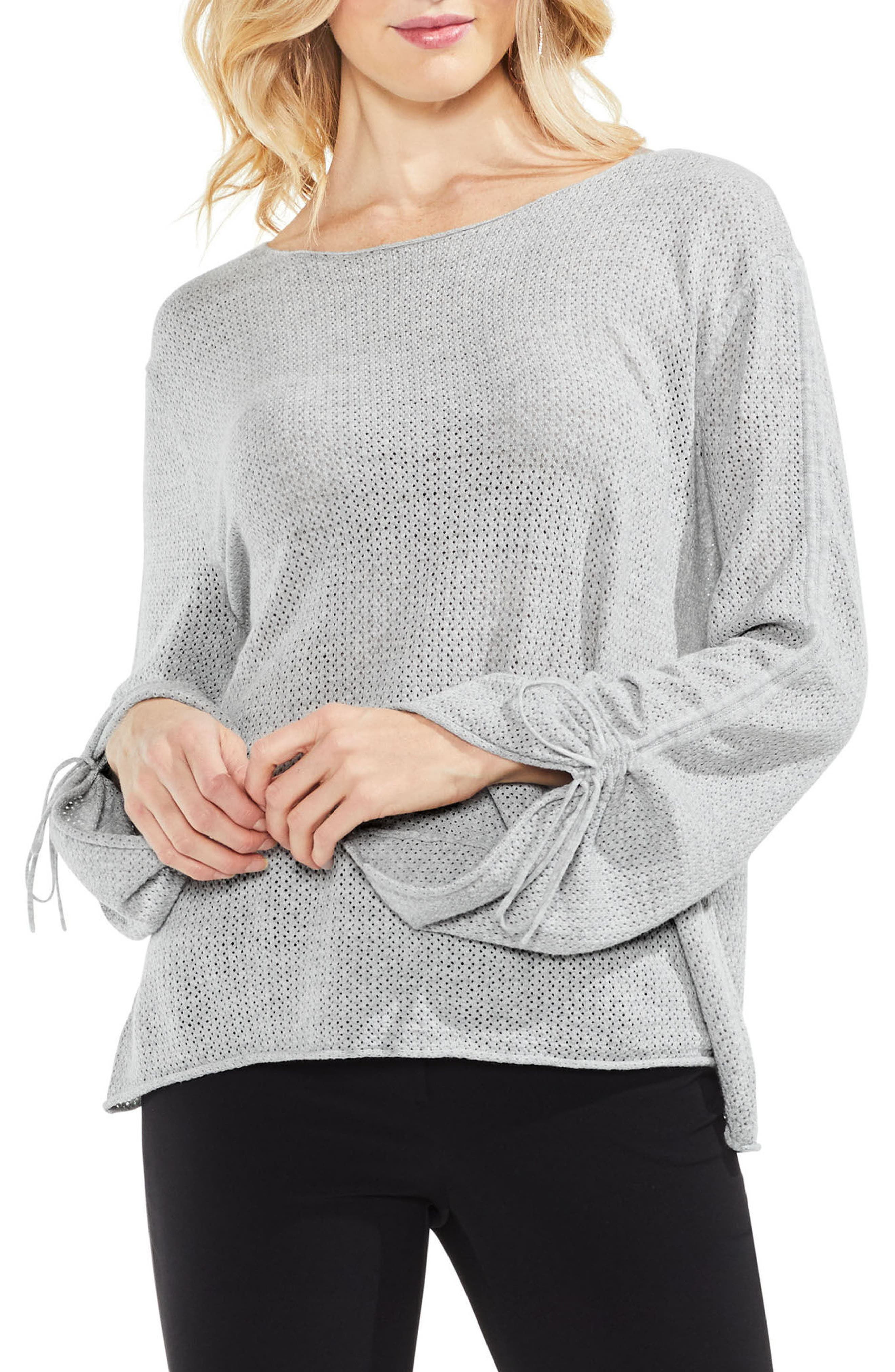Tie Sleeve Pointelle Sweater,                         Main,                         color, Grey Heather
