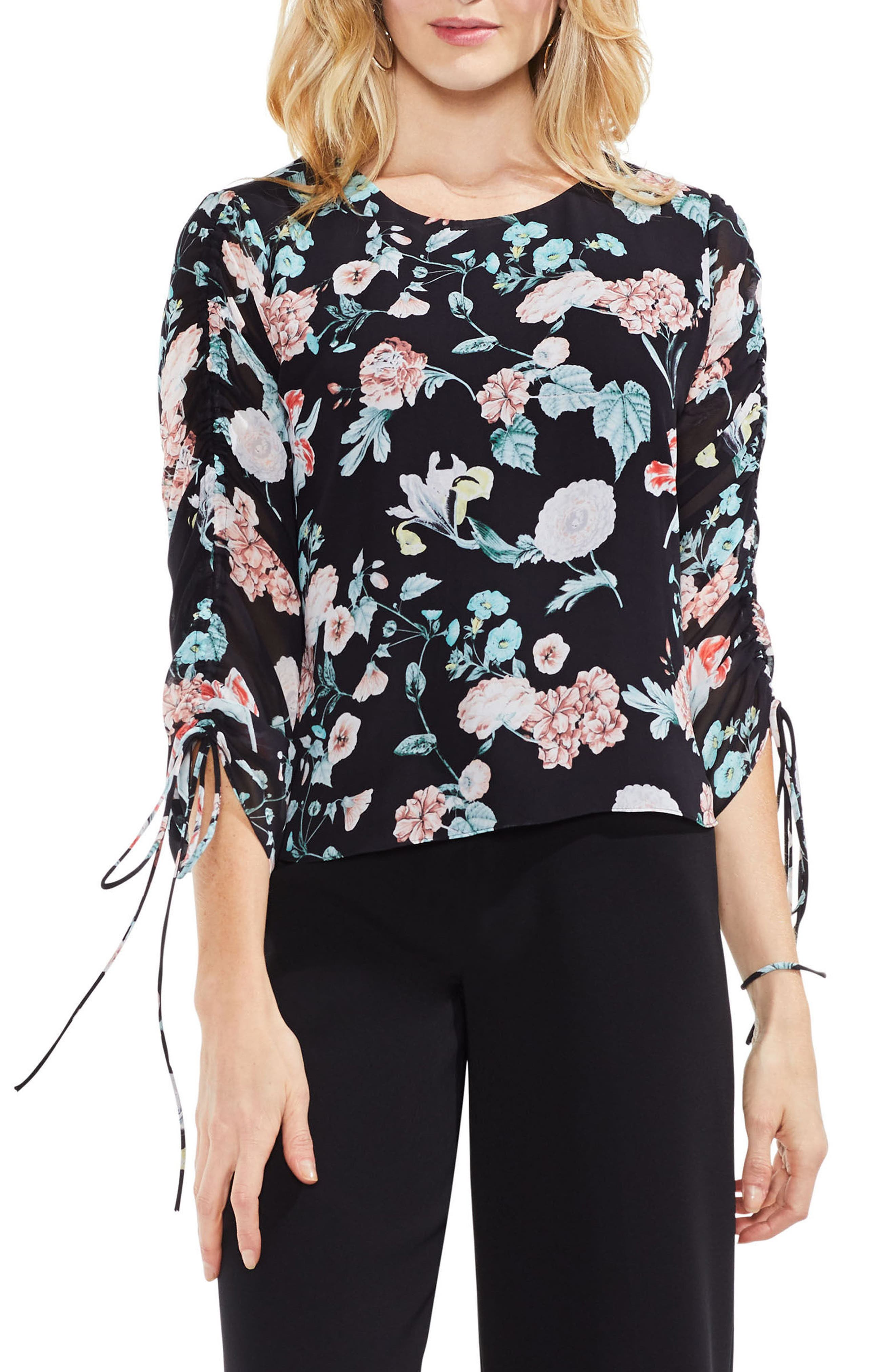 Floral Gardens Drawstring Sleeve Blouse,                         Main,                         color, Rich Black