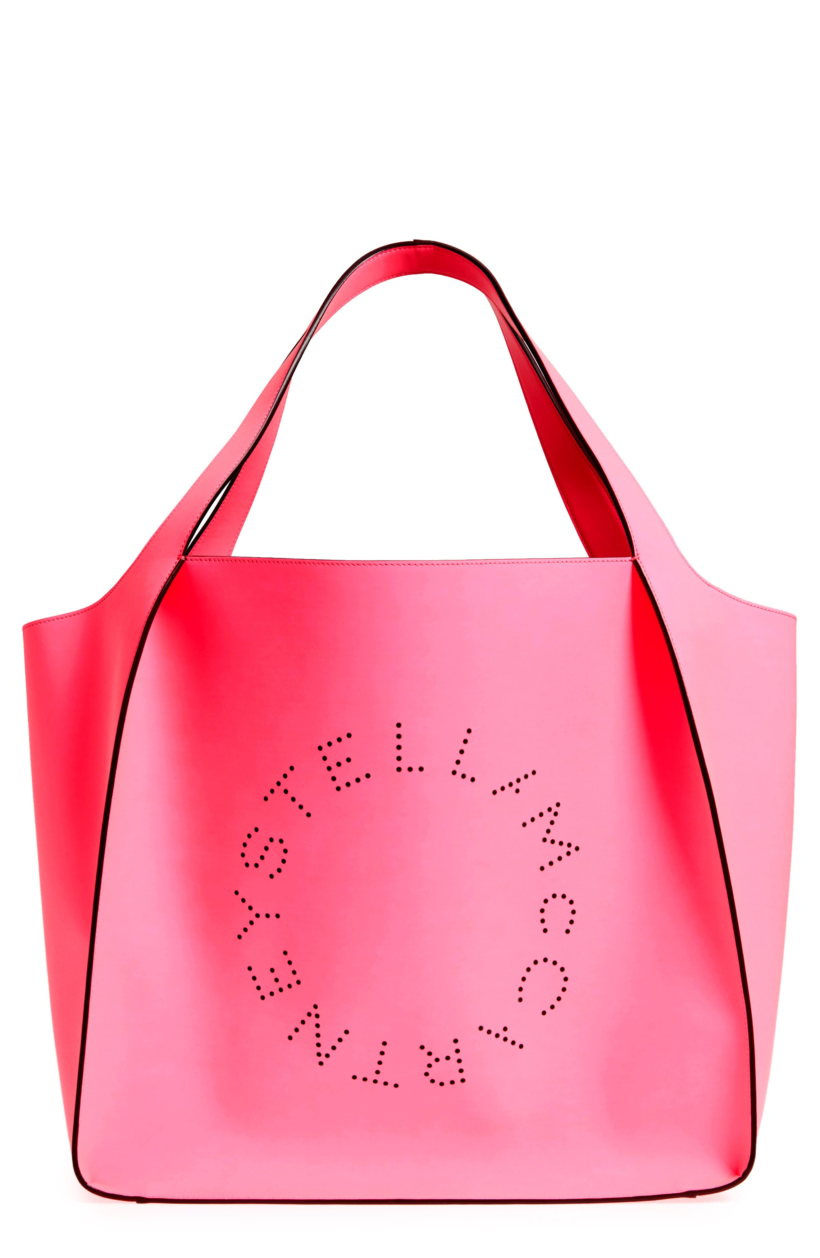Extra Large Perforated Logo Faux Leather Tote,                         Main,                         color, Pink Fluo