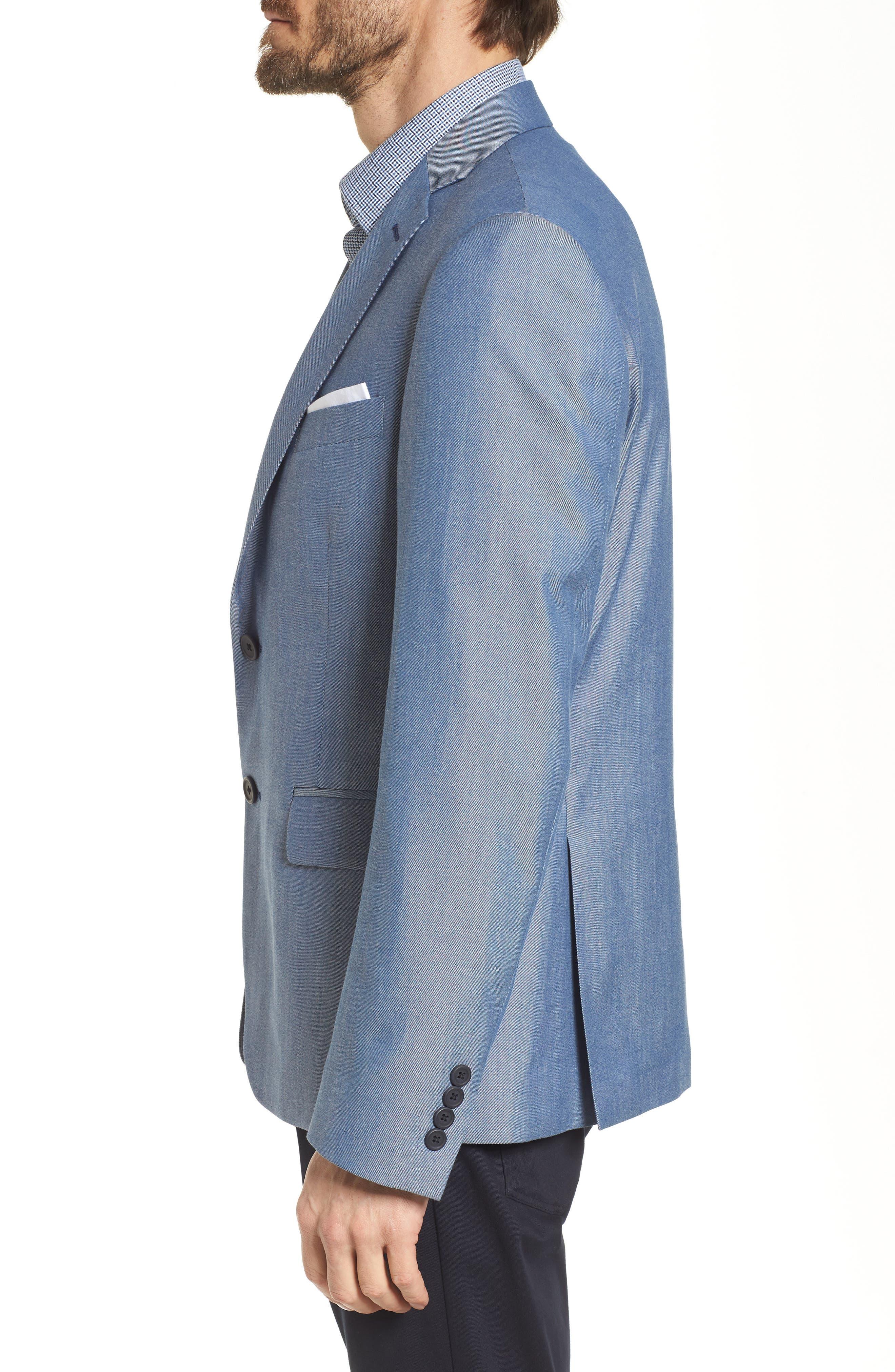 Trim Fit Wool & Cotton Blazer,                             Alternate thumbnail 3, color,                             Blue Denim