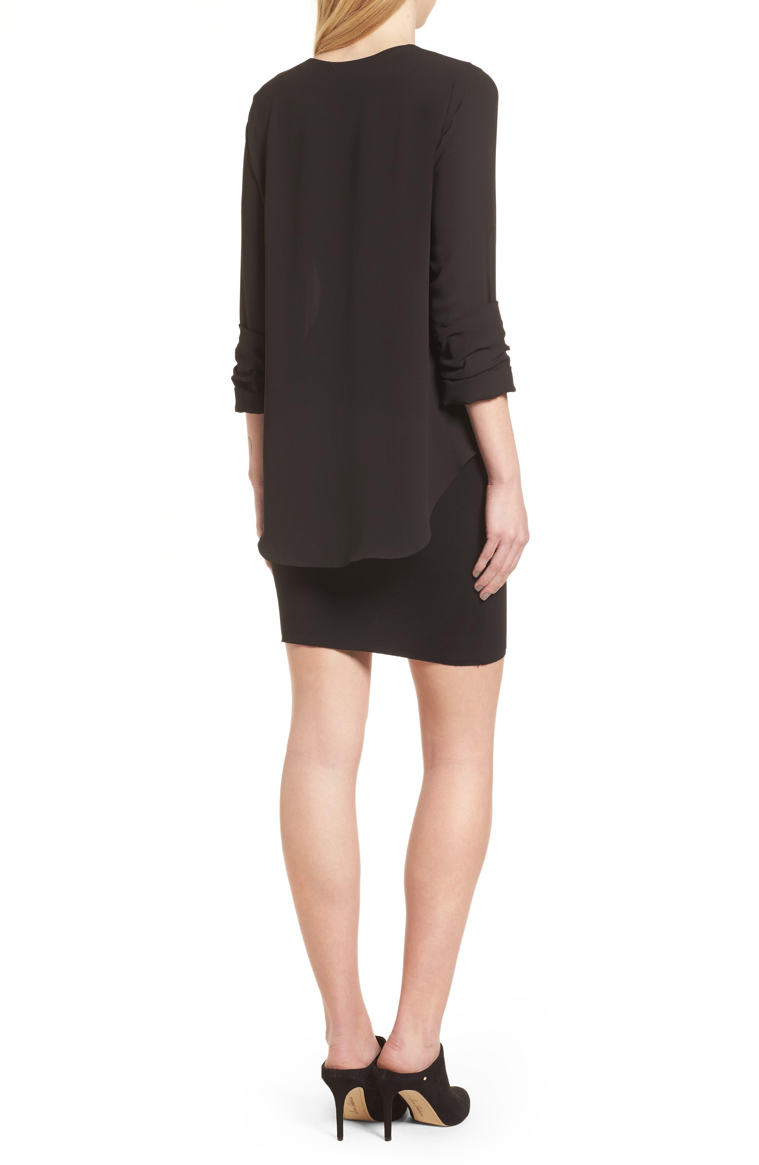 Bento Faux Layered Dress,                             Alternate thumbnail 2, color,                             Black