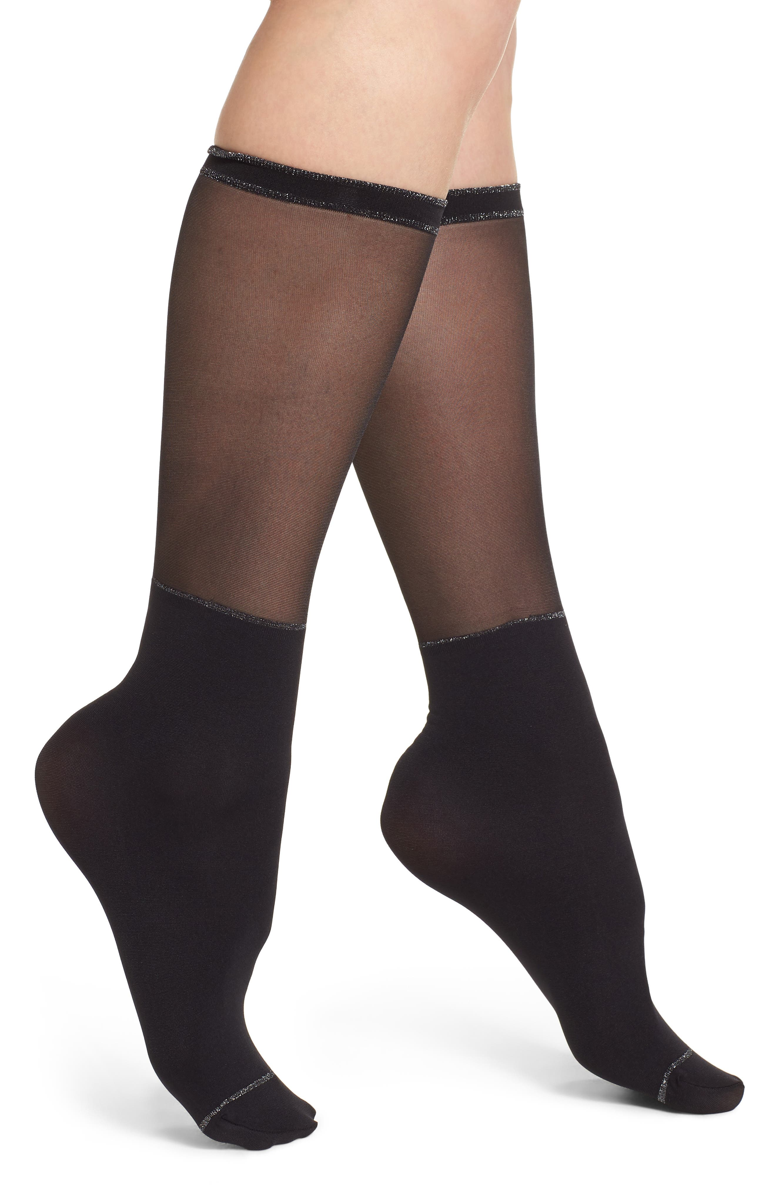 Gambaletto Graphic Glossy Trouser Socks,                         Main,                         color, Black