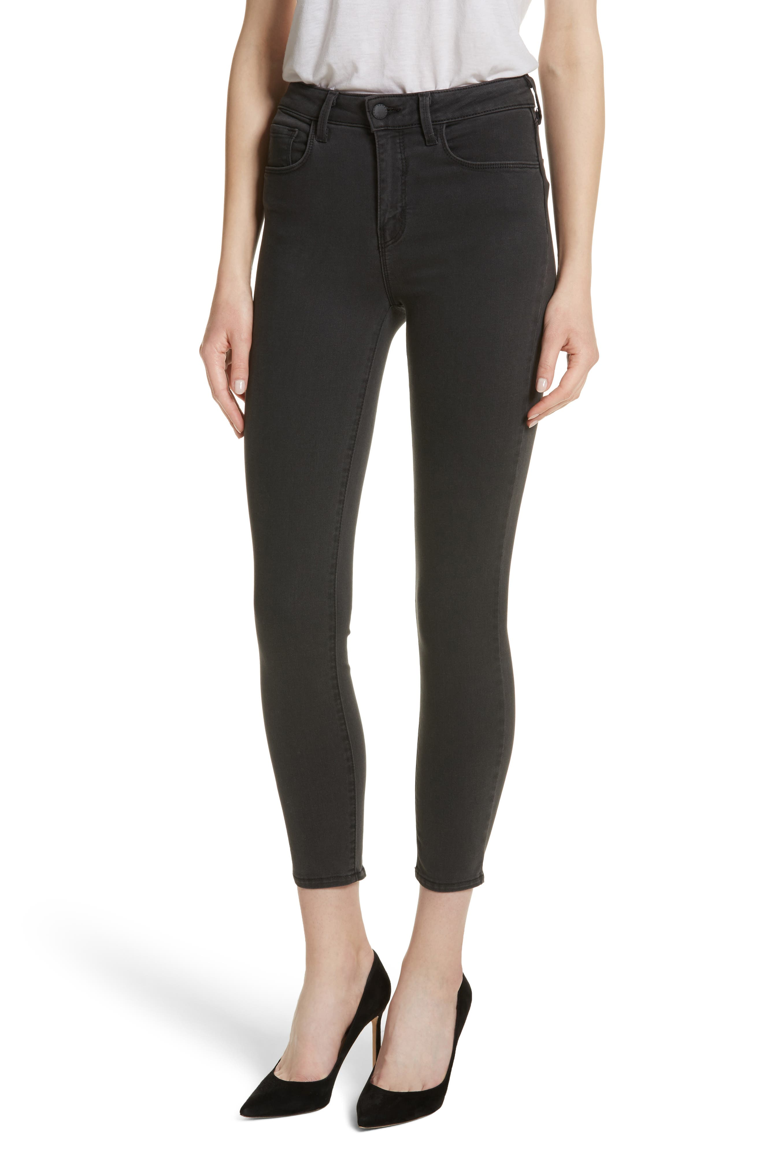 L'AGENCE Margot High Waist Crop Skinny Jeans (Coal)