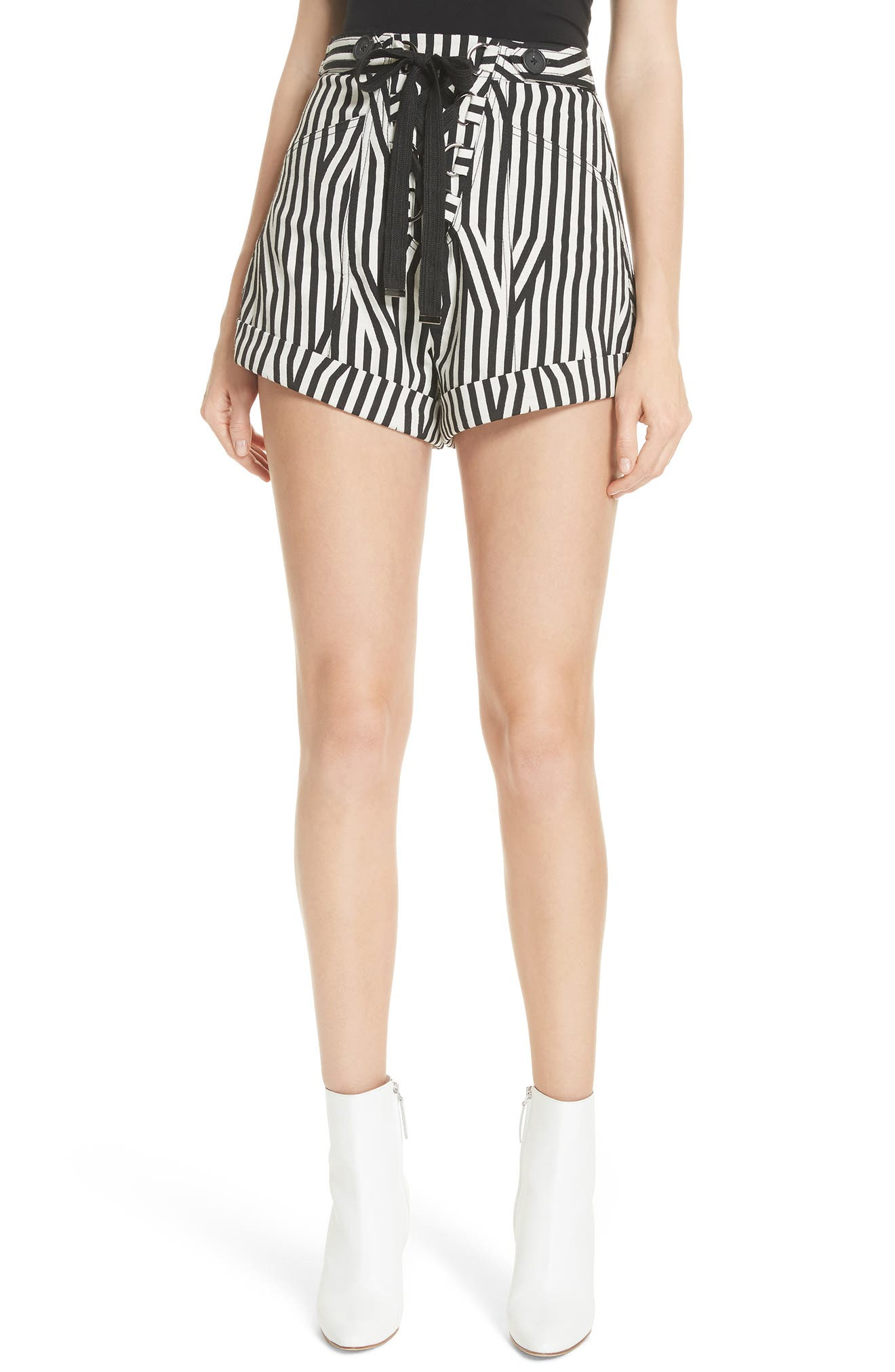 Abstract Stripe Lace-Up Shorts,                         Main,                         color, Black/ White