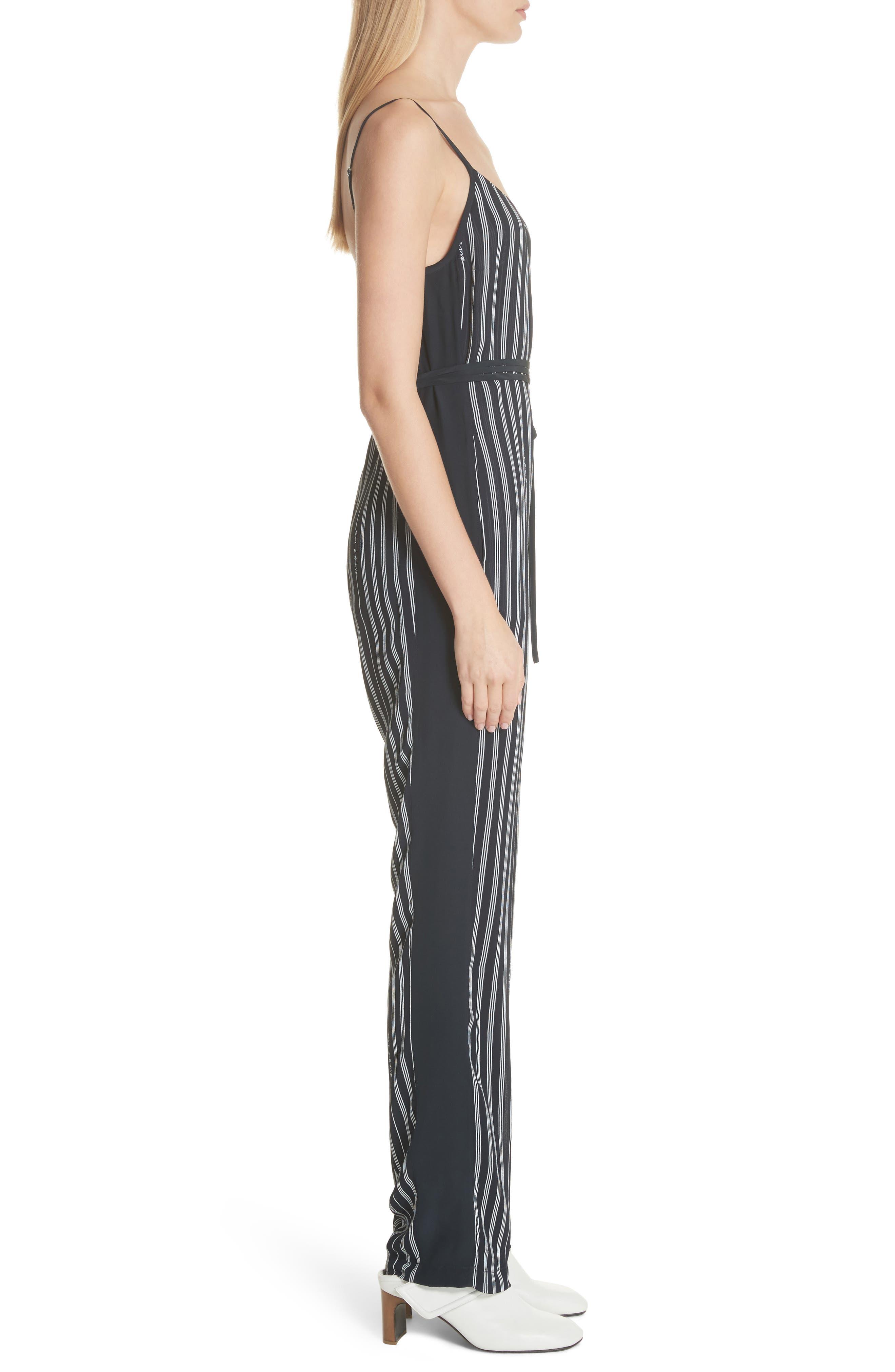 Rosa Silk Panel Belted Jumpsuit,                             Alternate thumbnail 3, color,                             Navy Stripe