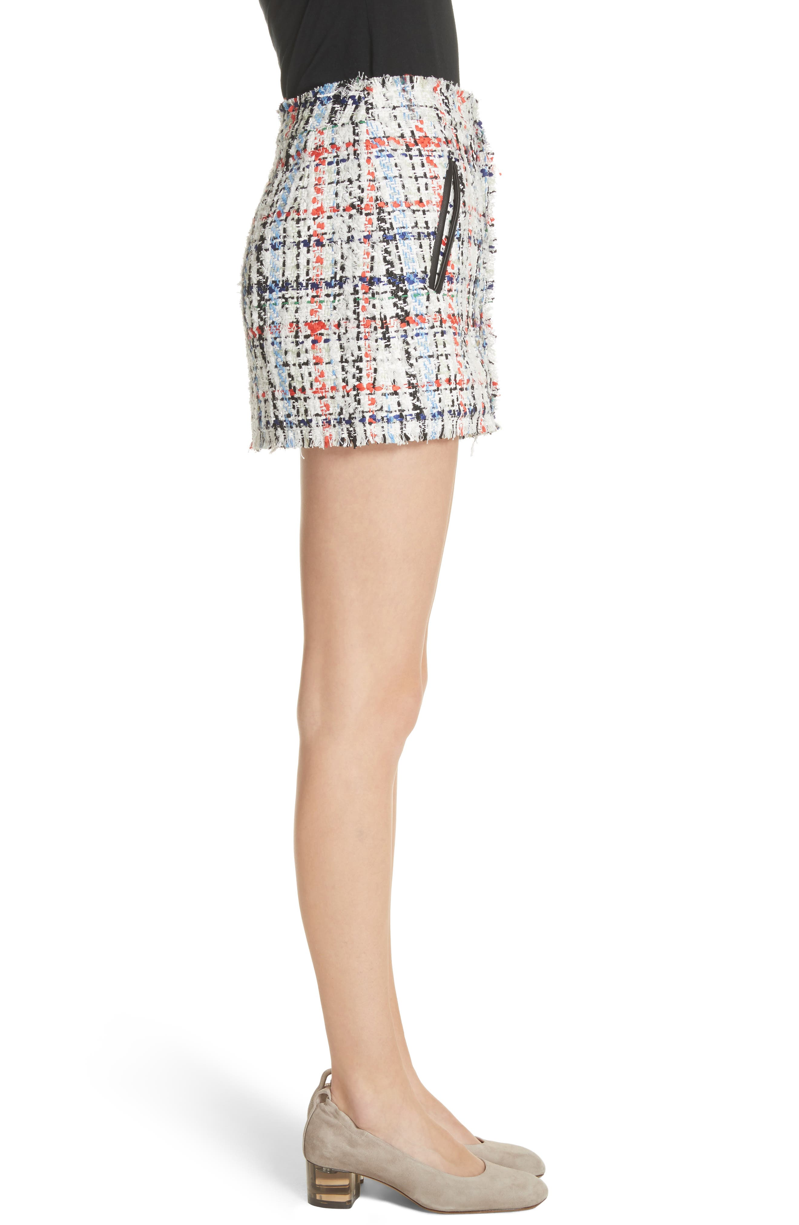 Otis Tweed Miniskirt,                             Alternate thumbnail 3, color,                             White Combo