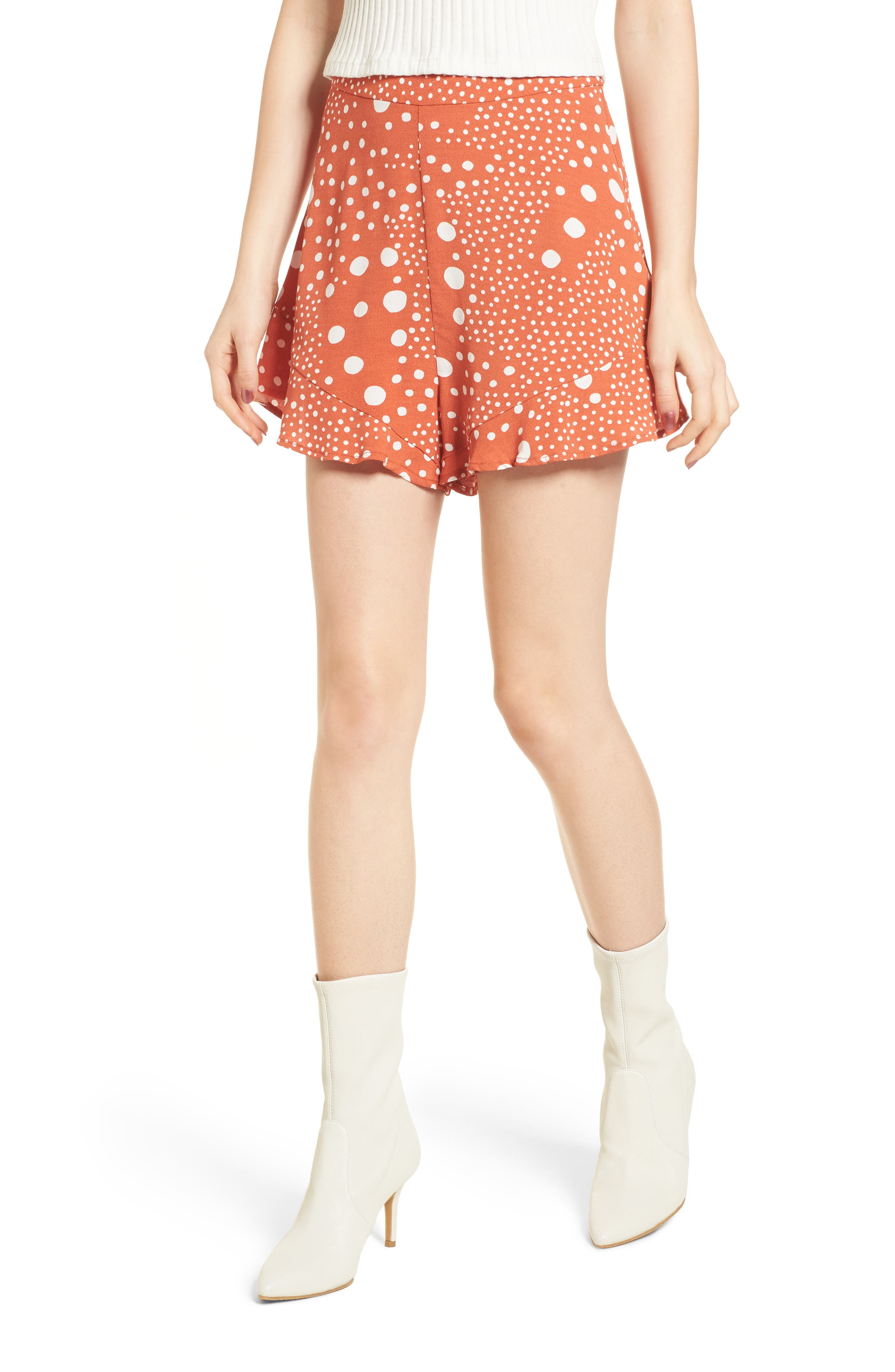 Alternate Image 1 Selected - The Fifth Label Peppers Polka Dot Ruffle Hem Shorts