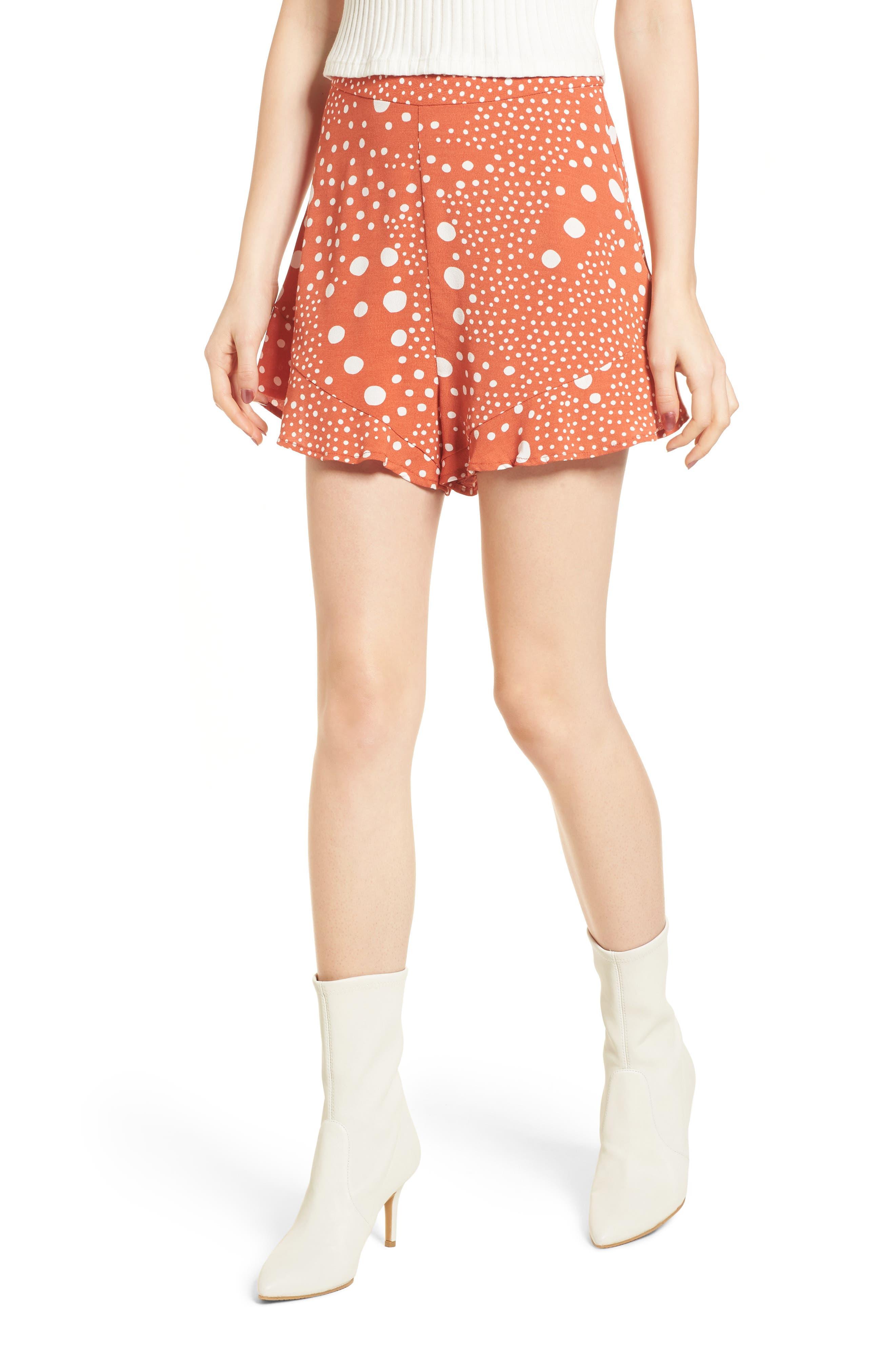 Peppers Polka Dot Ruffle Hem Shorts,                         Main,                         color, Rust Pebble