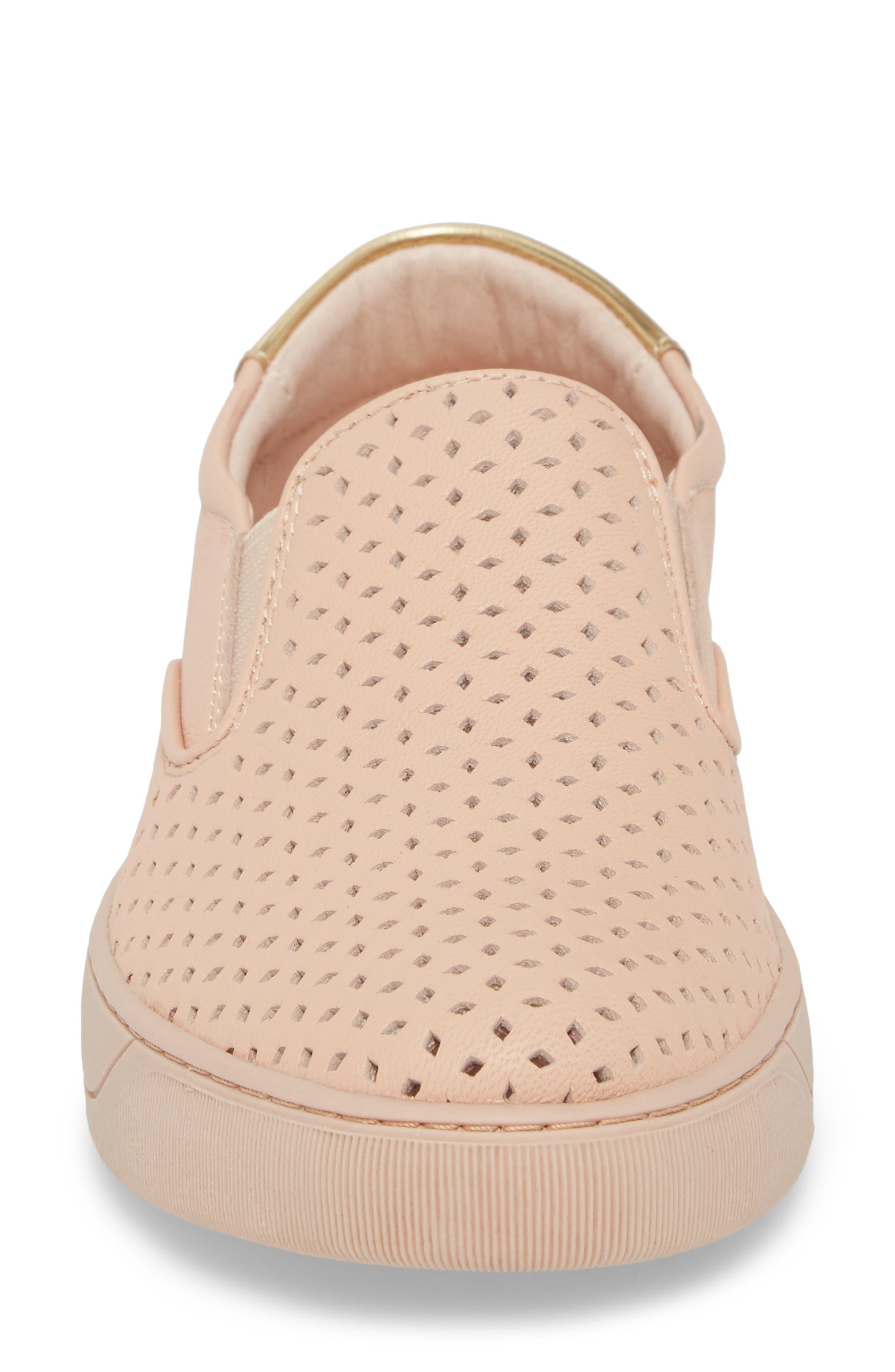 Elaine Slip-On Sneaker,                             Alternate thumbnail 4, color,                             Pink Leather