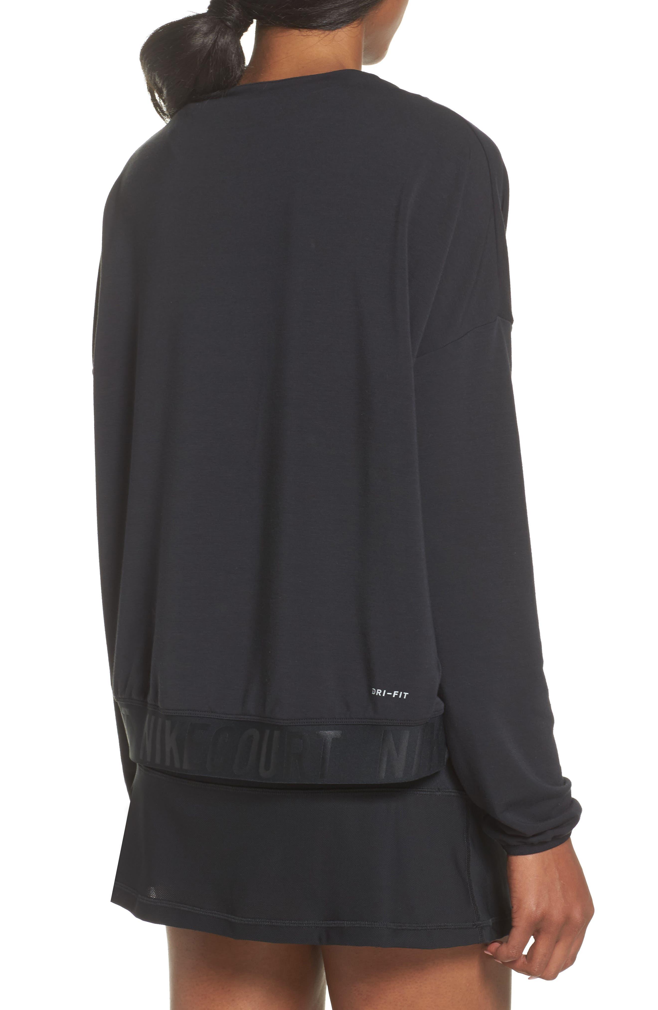 Court Dri-FIT Long Sleeve Tennis Top,                             Alternate thumbnail 2, color,                             Black/ White