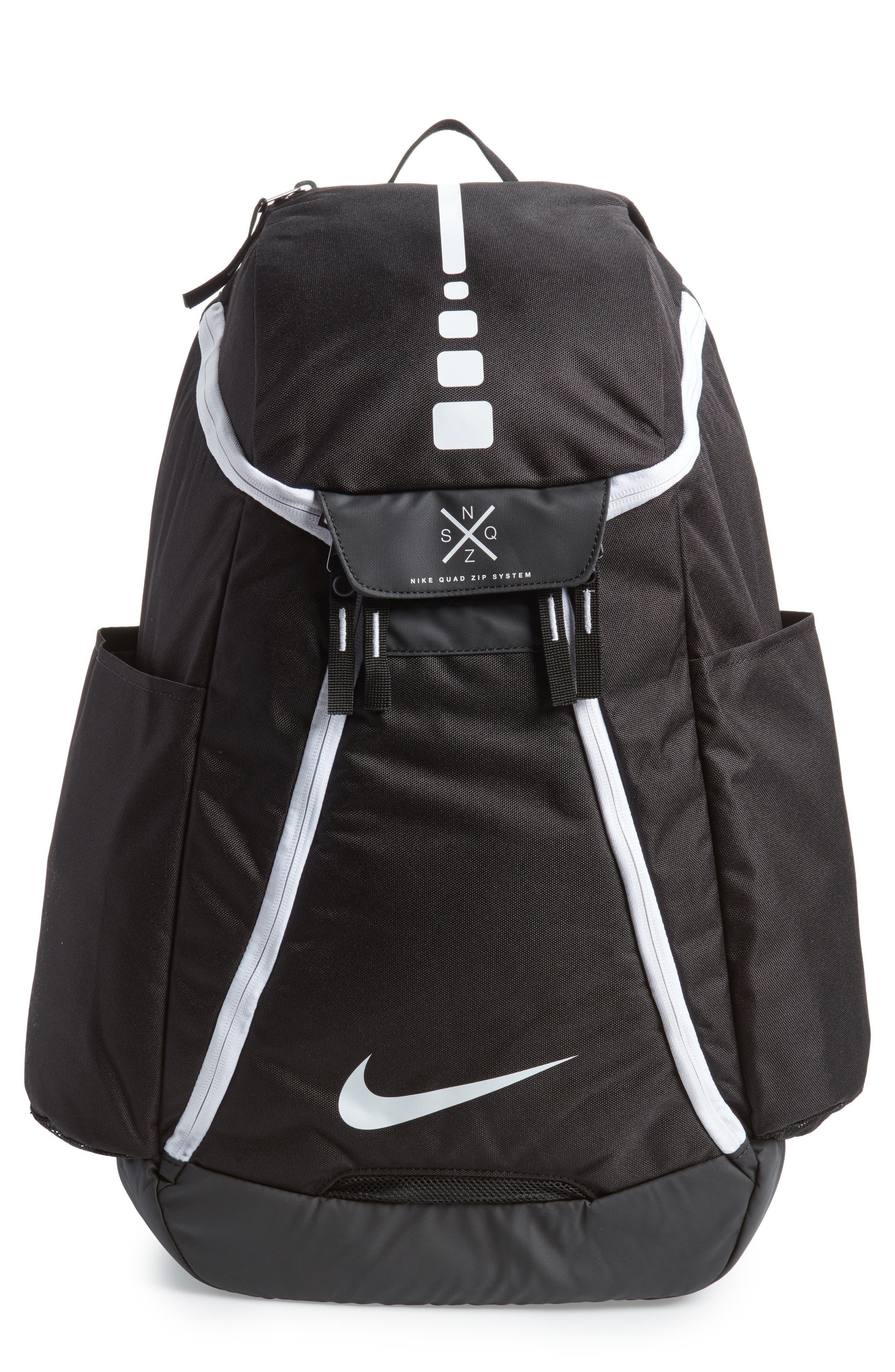 Hoops Elite Max Air Team Backpack,                             Main thumbnail 1, color,                             Black / White