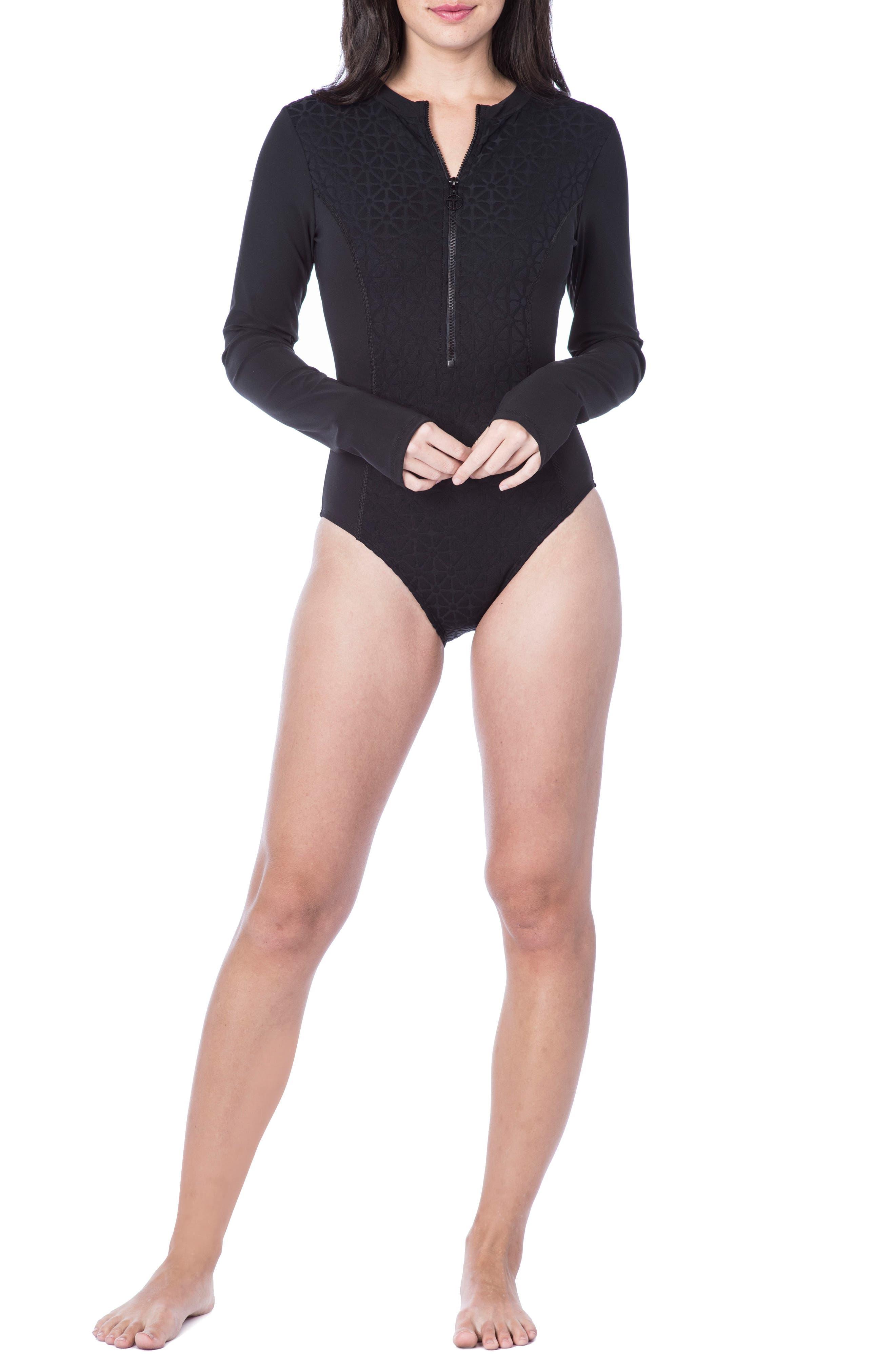 Sunshine Jacquard One-Piece Paddle Suit,                         Main,                         color, Black