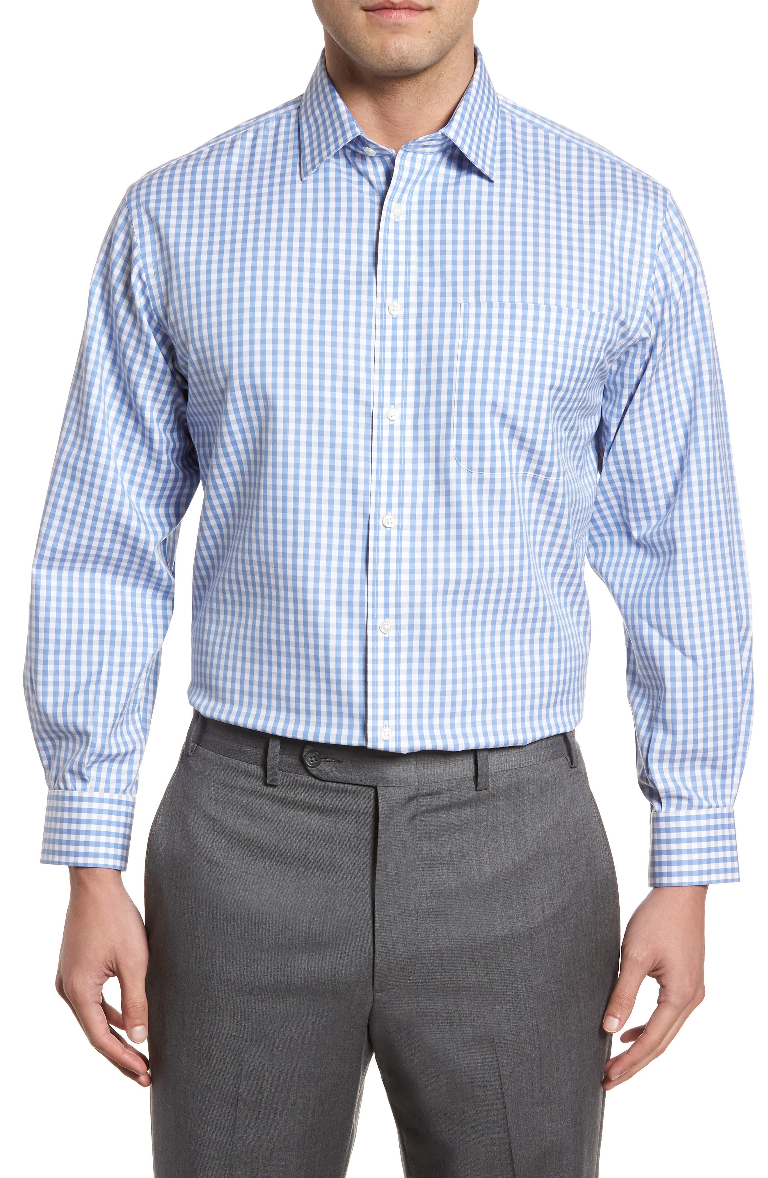 Smartcare<sup>™</sup> Classic Fit Check Dress Shirt,                         Main,                         color, Grey Micro