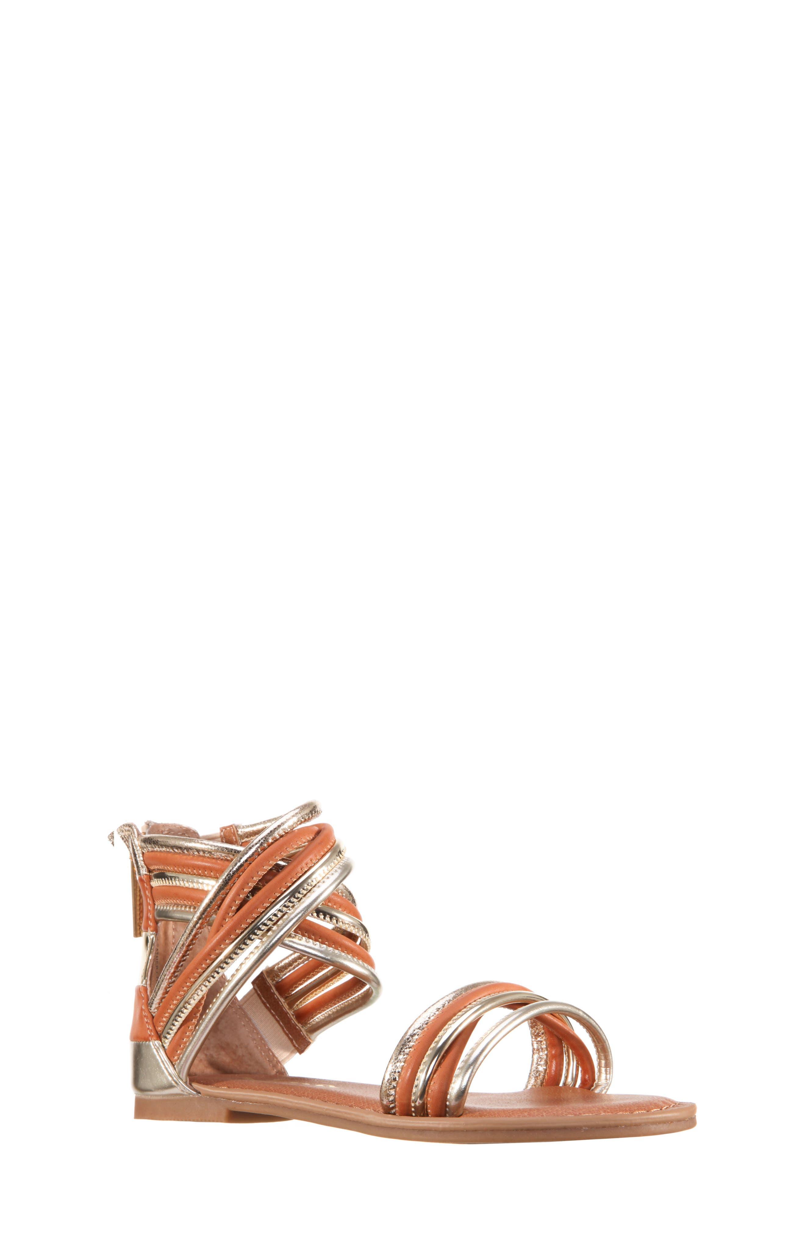 Roxsanne Multistrap Sandal,                             Main thumbnail 1, color,                             Platino Metallic