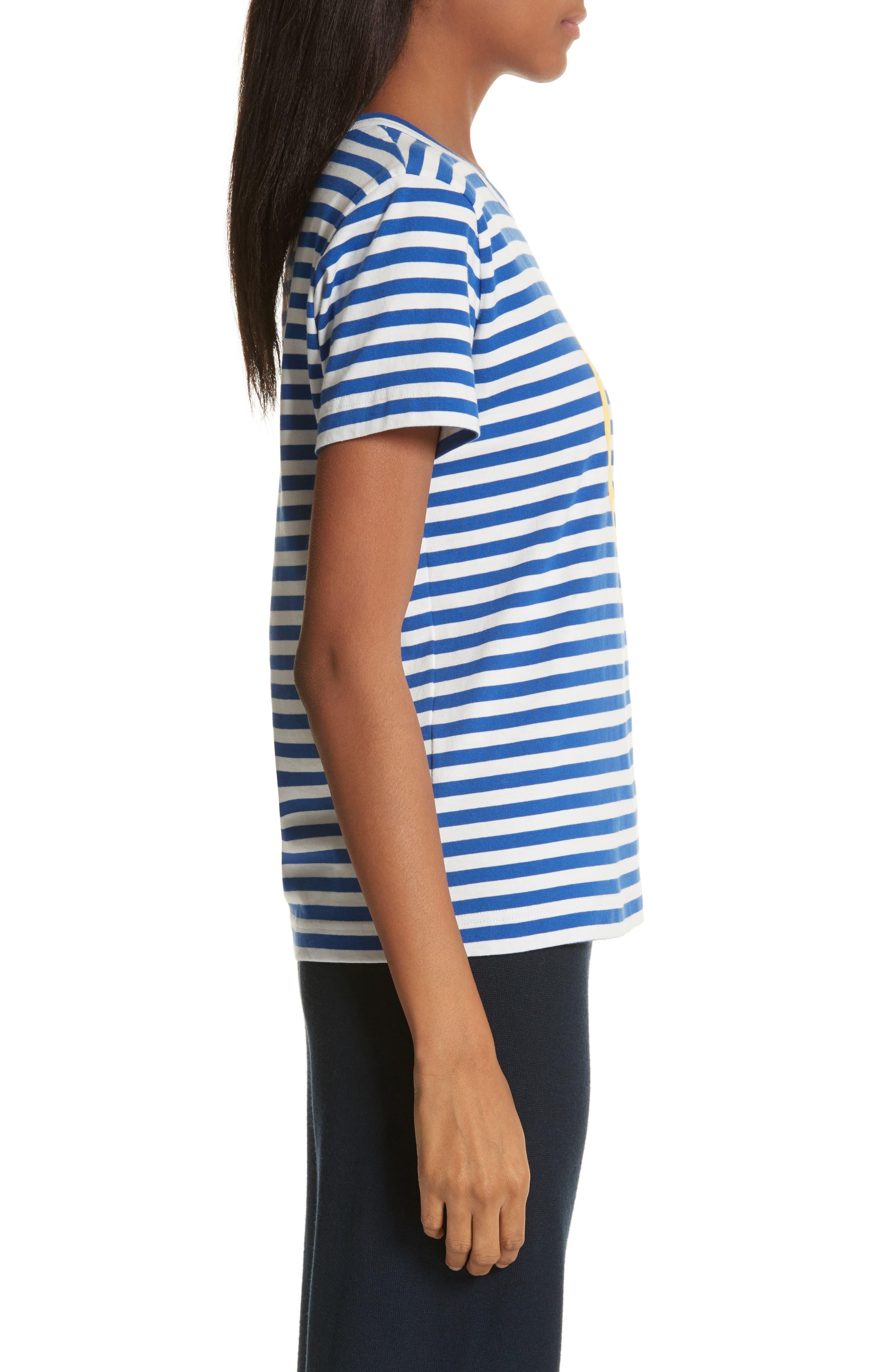 Little Grumps Stripe Tee,                             Alternate thumbnail 3, color,                             Slalom Blue Classic Stripe