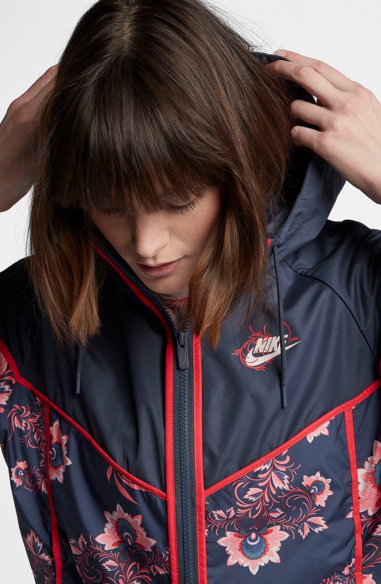 Sportswear Floral Print Track Jacket,                             Alternate thumbnail 6, color,                             Thunder Blue