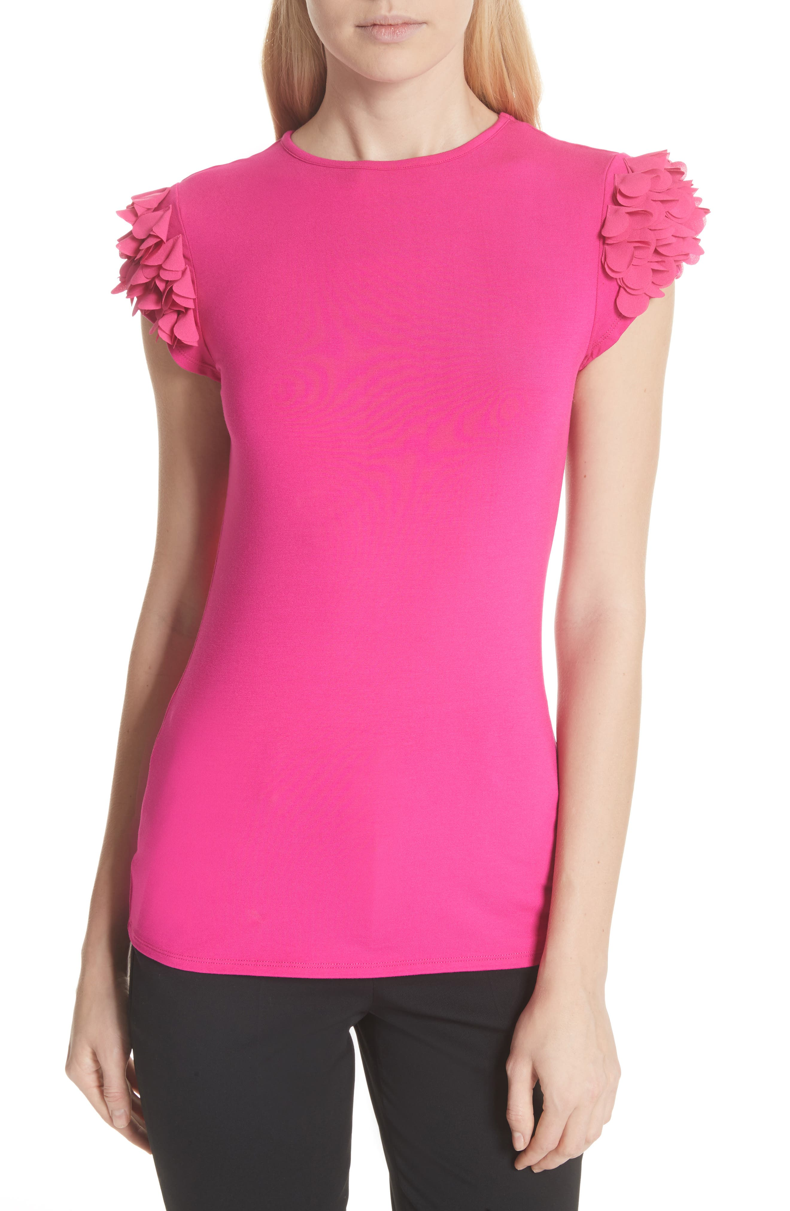 Floral Appliqué Sleeve Tee,                         Main,                         color, Bright Pink