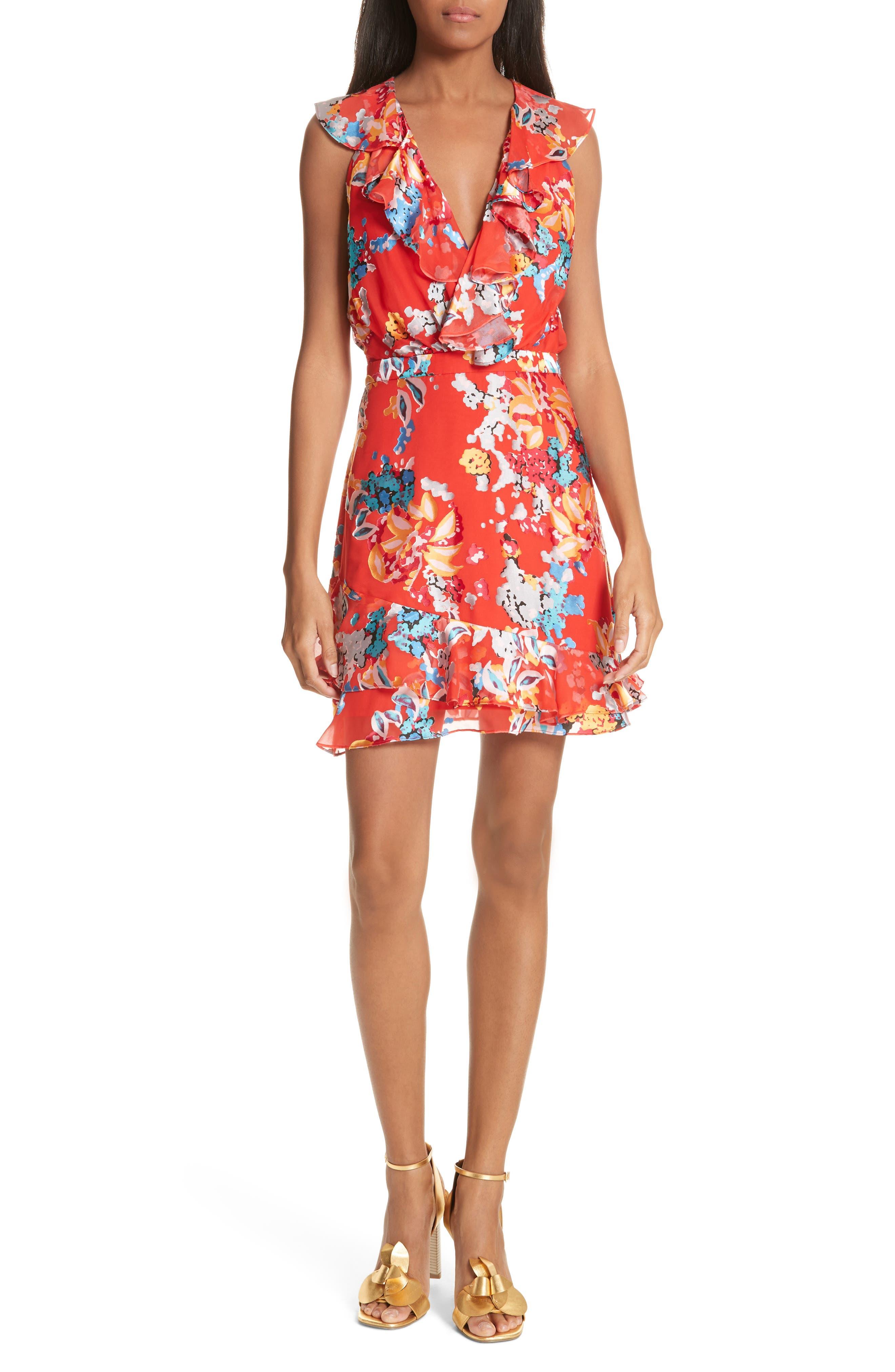 Cece Floral Print Ruffle Trim Dress,                         Main,                         color, Coral Begonia