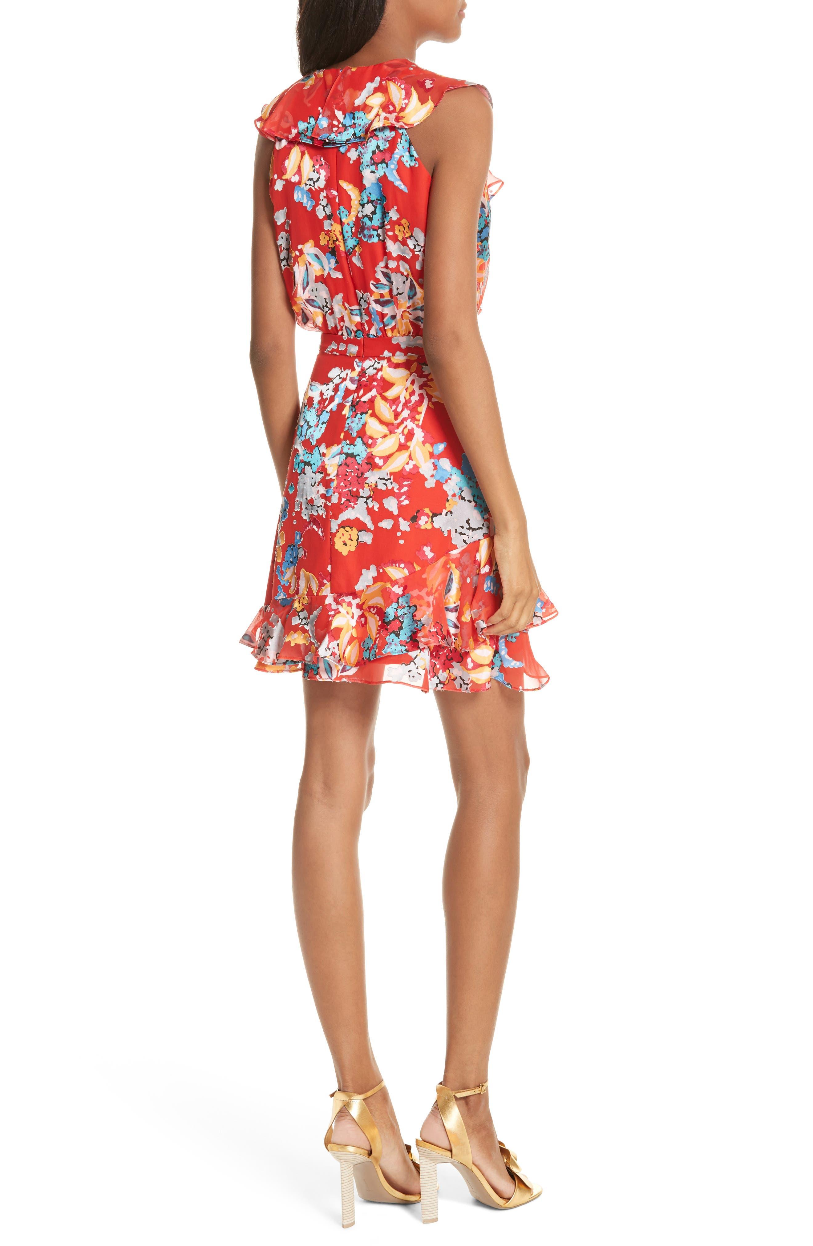 Cece Floral Print Ruffle Trim Dress,                             Alternate thumbnail 2, color,                             Coral Begonia