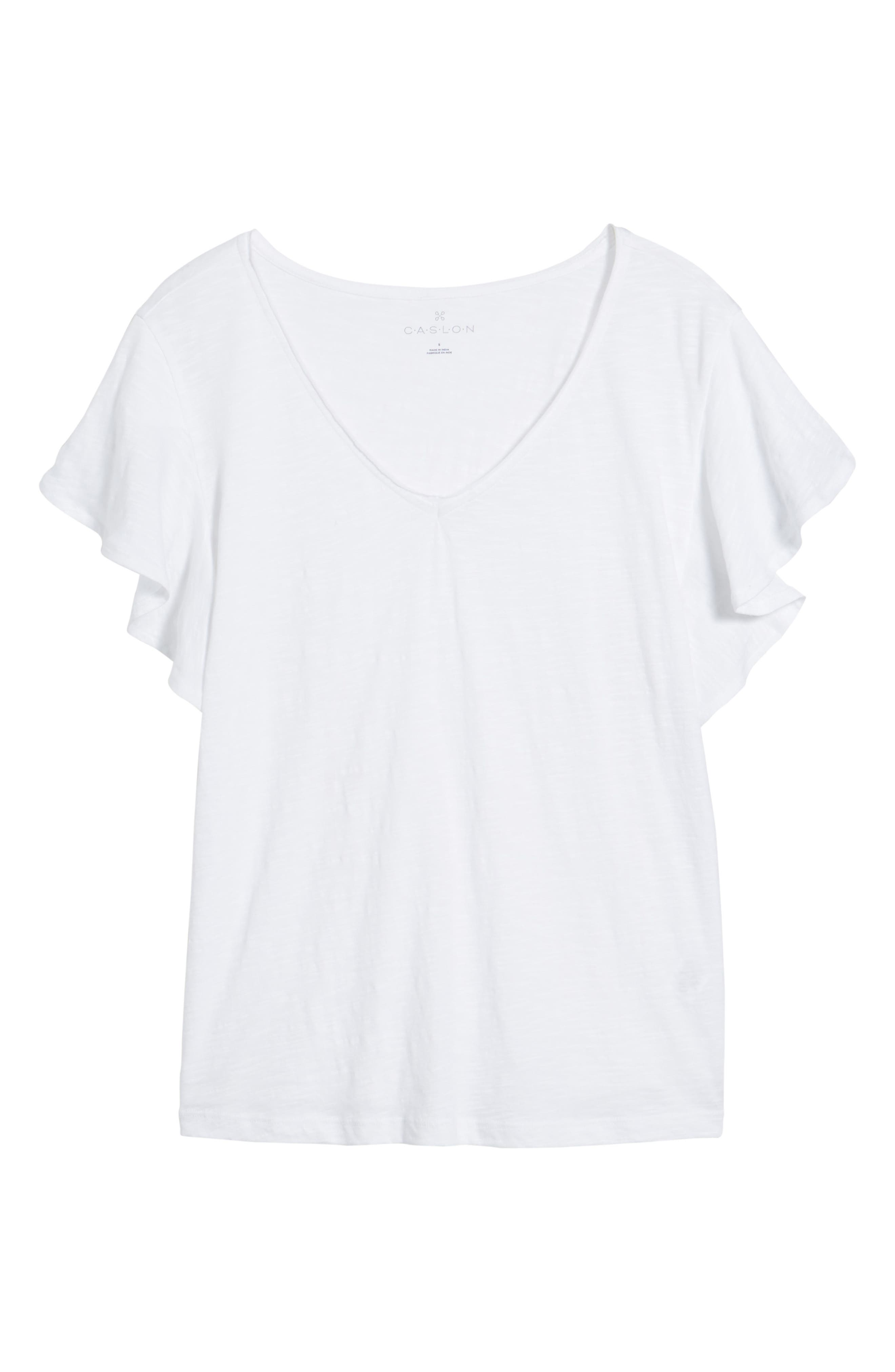 Flounce Short Sleeve Tee,                             Alternate thumbnail 6, color,                             White