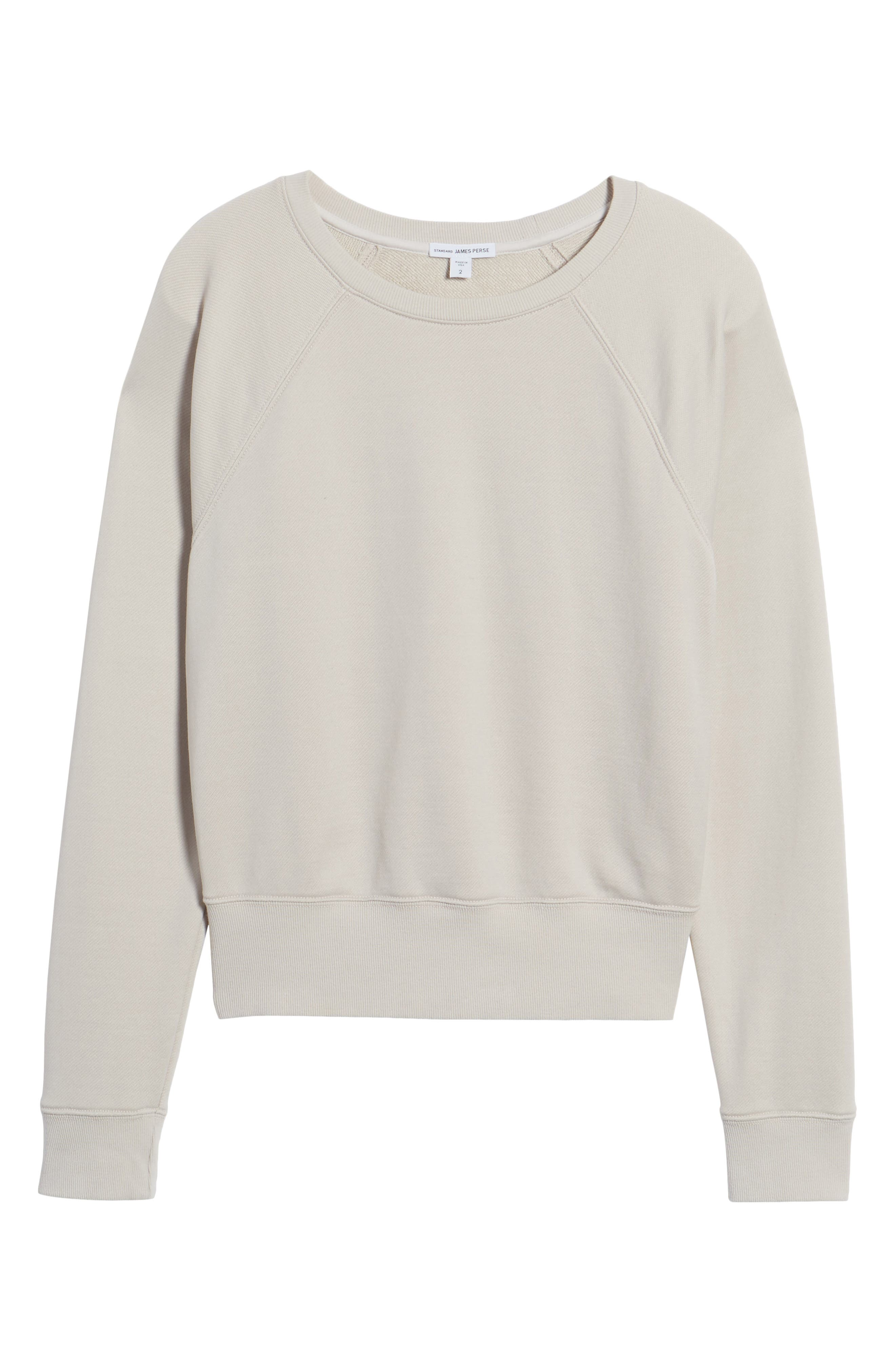 Shrunken Fleece Sweatshirt,                             Alternate thumbnail 6, color,                             Silver