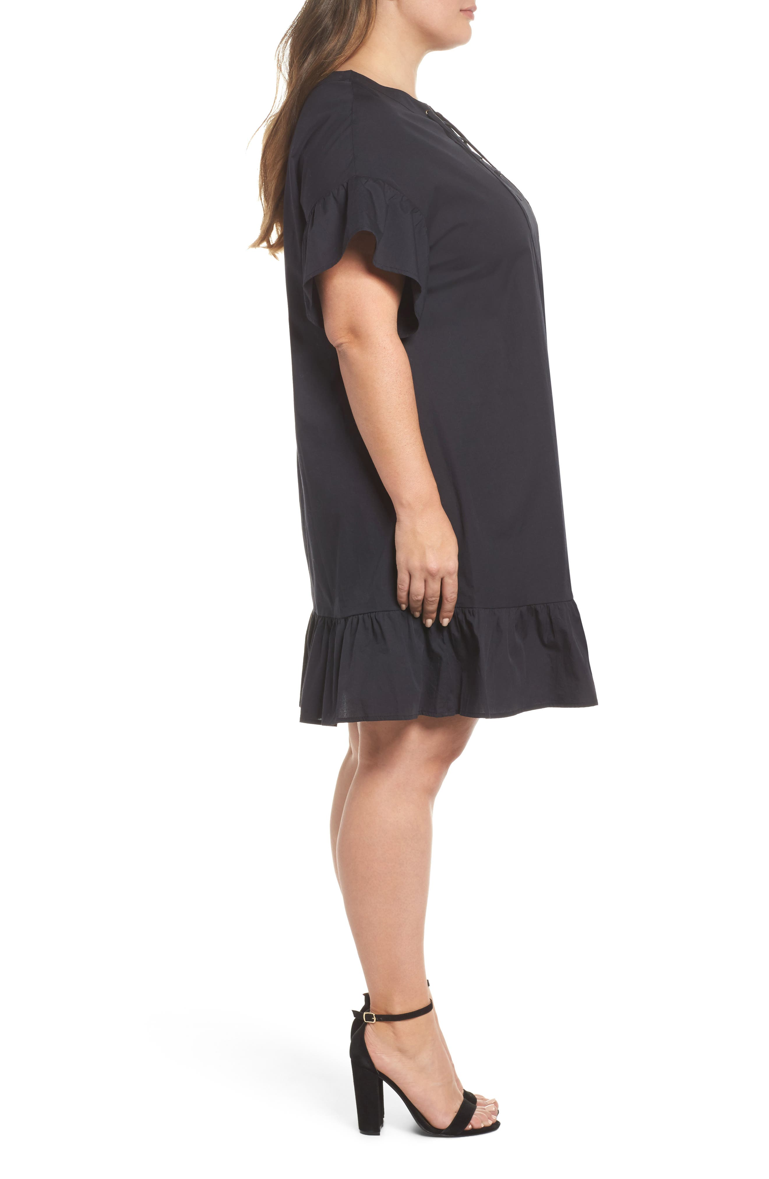 Lace-Up Poplin Dress,                             Alternate thumbnail 3, color,                             Lucky Black