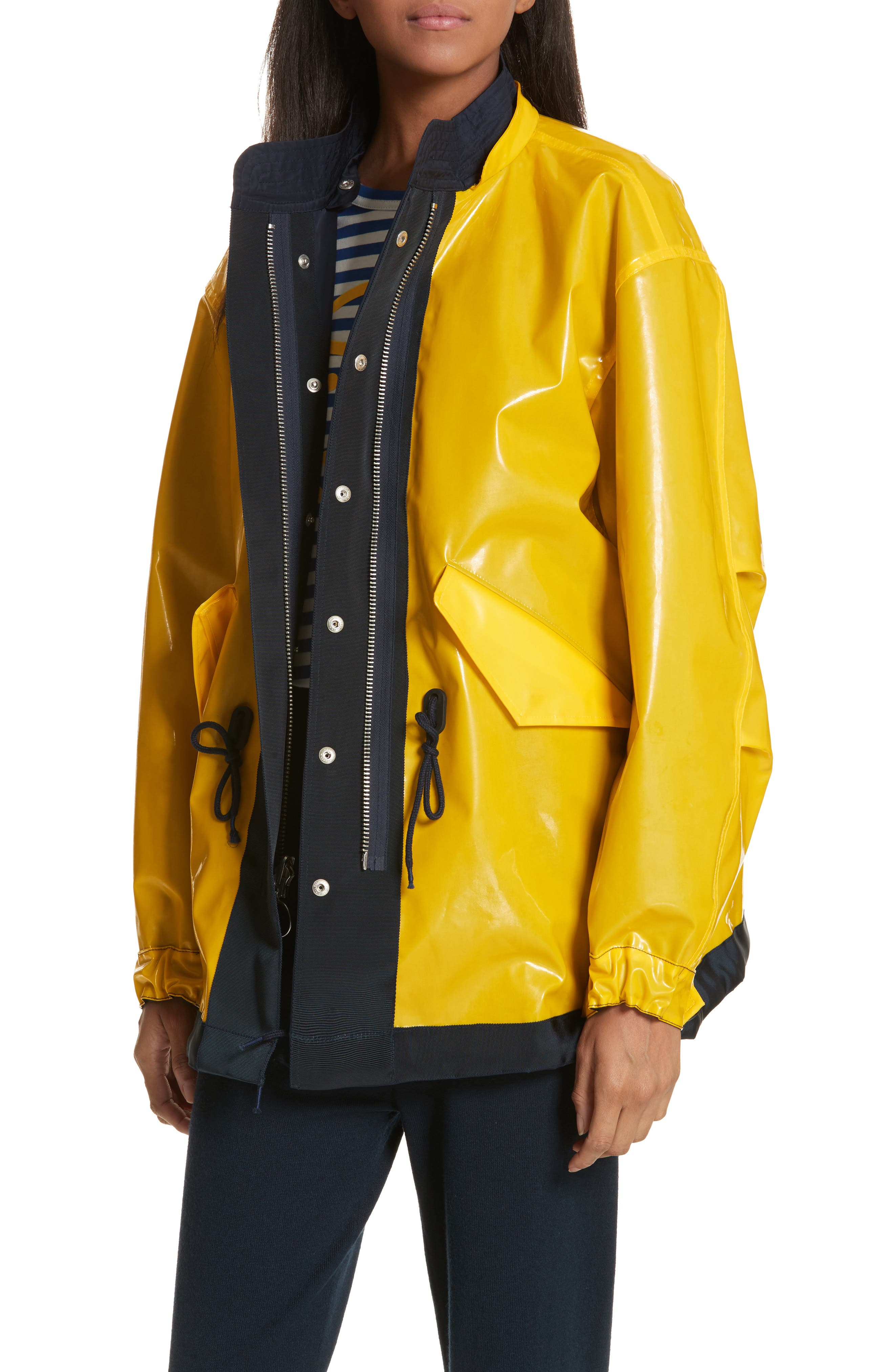 Reversible Rain Jacket,                             Alternate thumbnail 6, color,                             Tory Navy/ Cyber Yellow