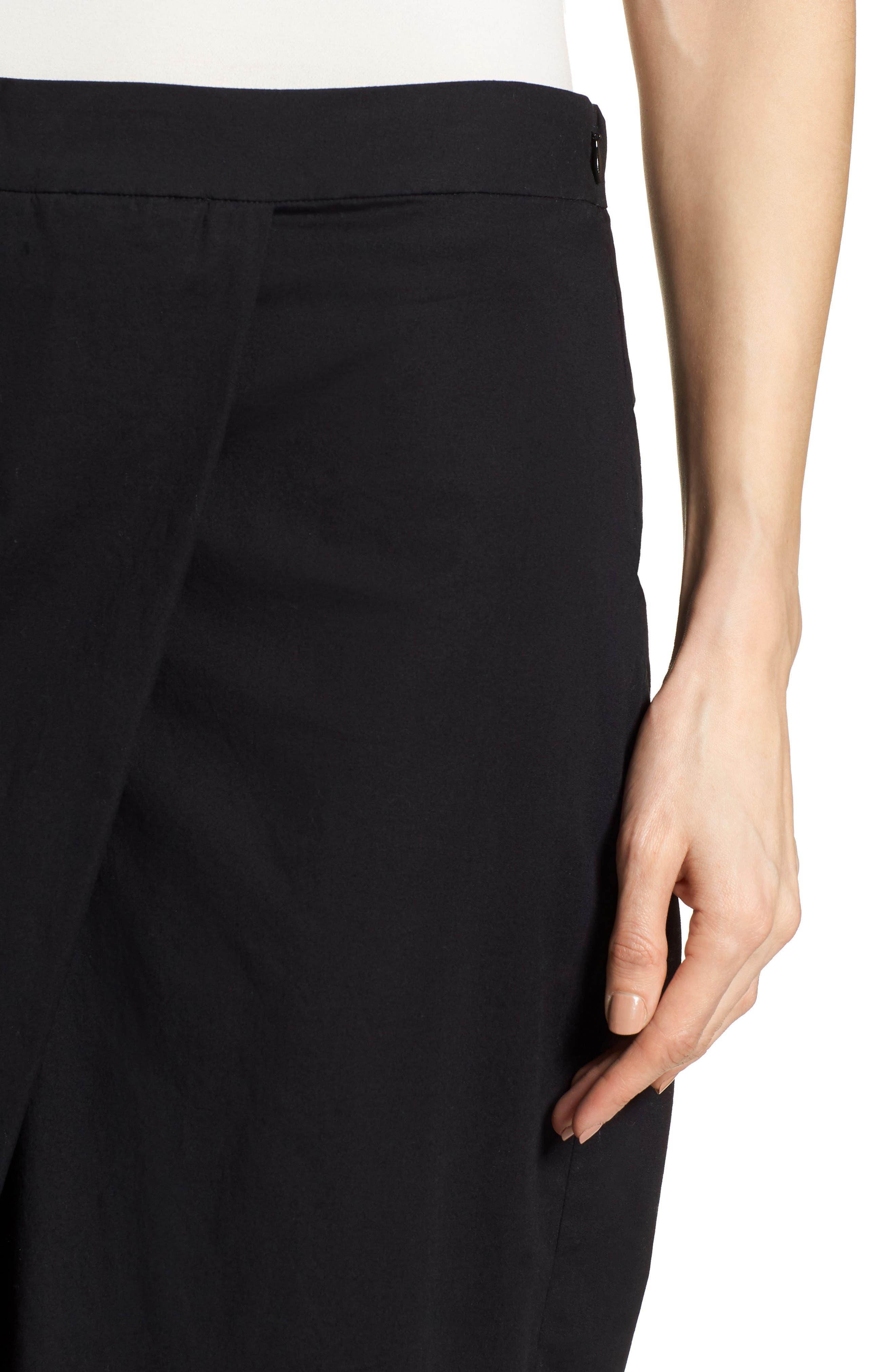 Foldover Wide Leg Crop Pants,                             Alternate thumbnail 4, color,                             Black