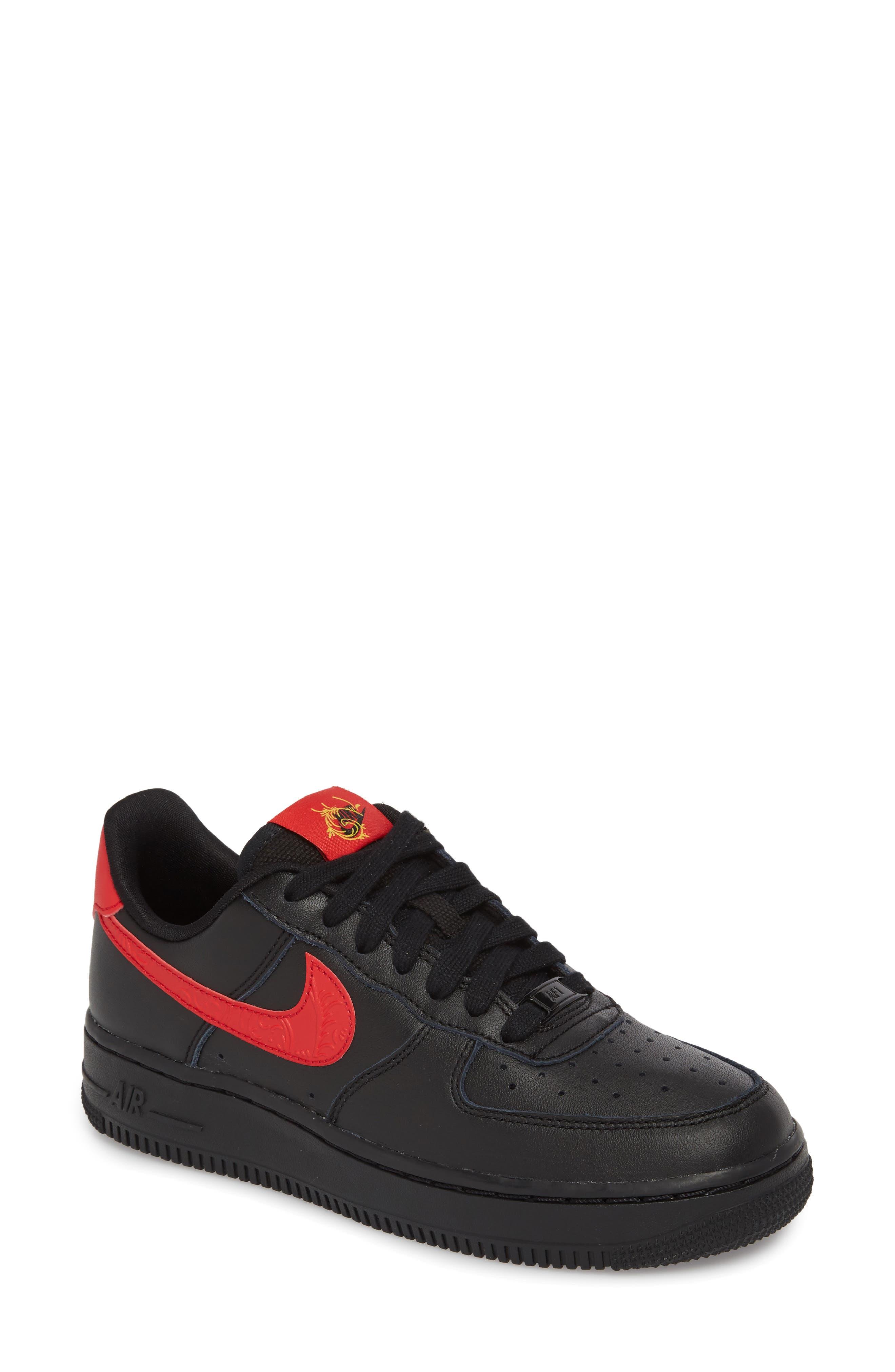 Air Force 1 '07 Sneaker,                             Main thumbnail 1, color,                             Black/ University Red