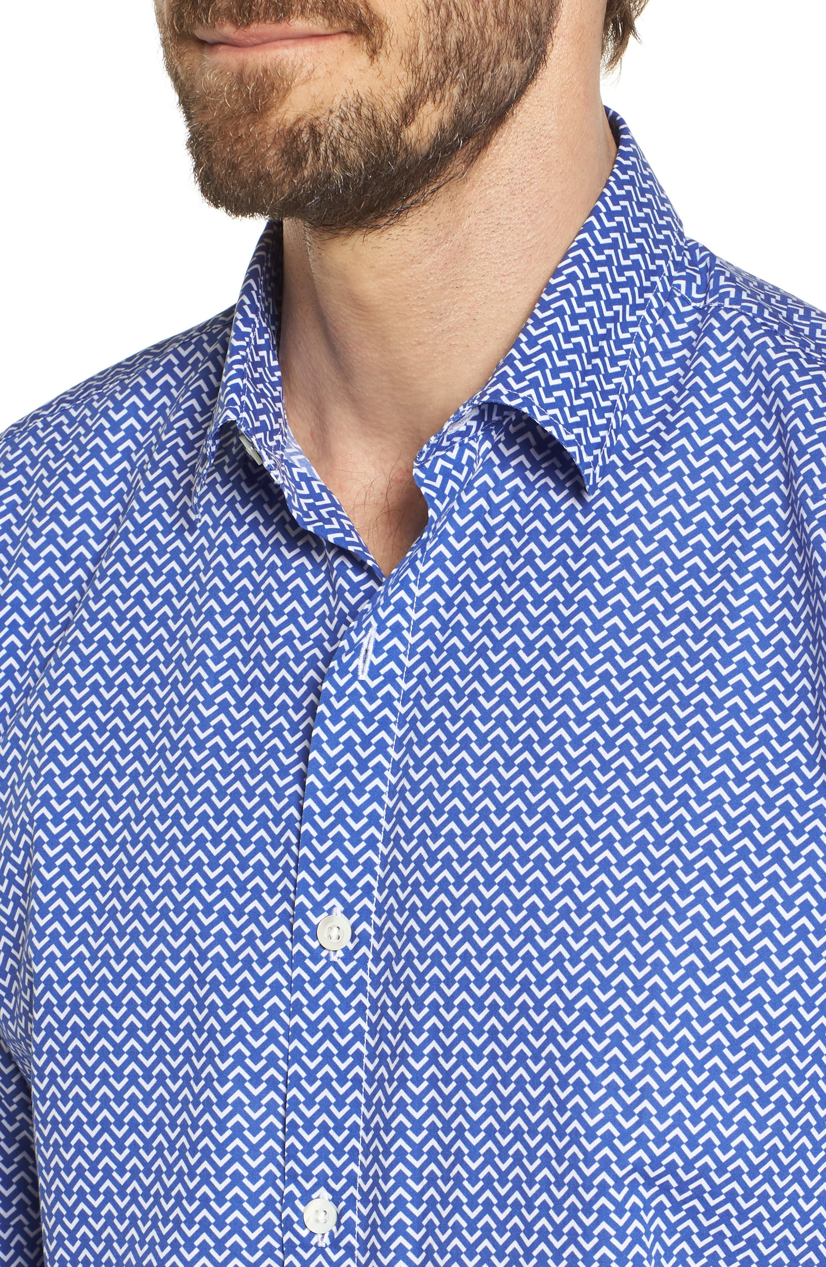 Premium Slim Fit Print Sport Shirt,                             Alternate thumbnail 2, color,                             Blue Wave