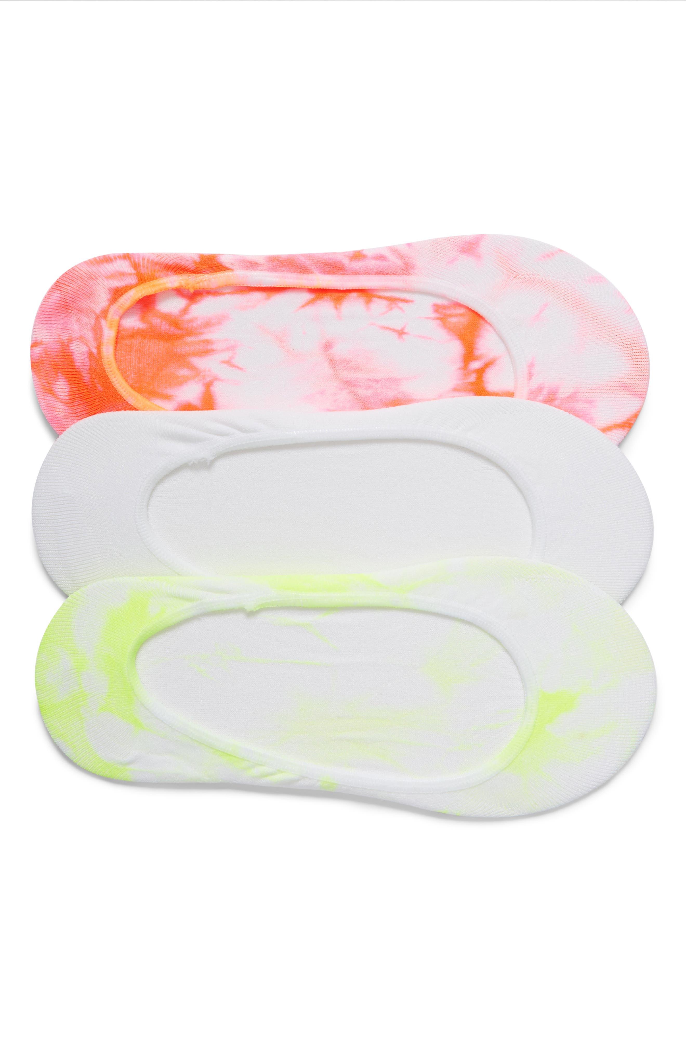 Tie Dye Liner Socks,                             Main thumbnail 1, color,                             Neon Red Pack