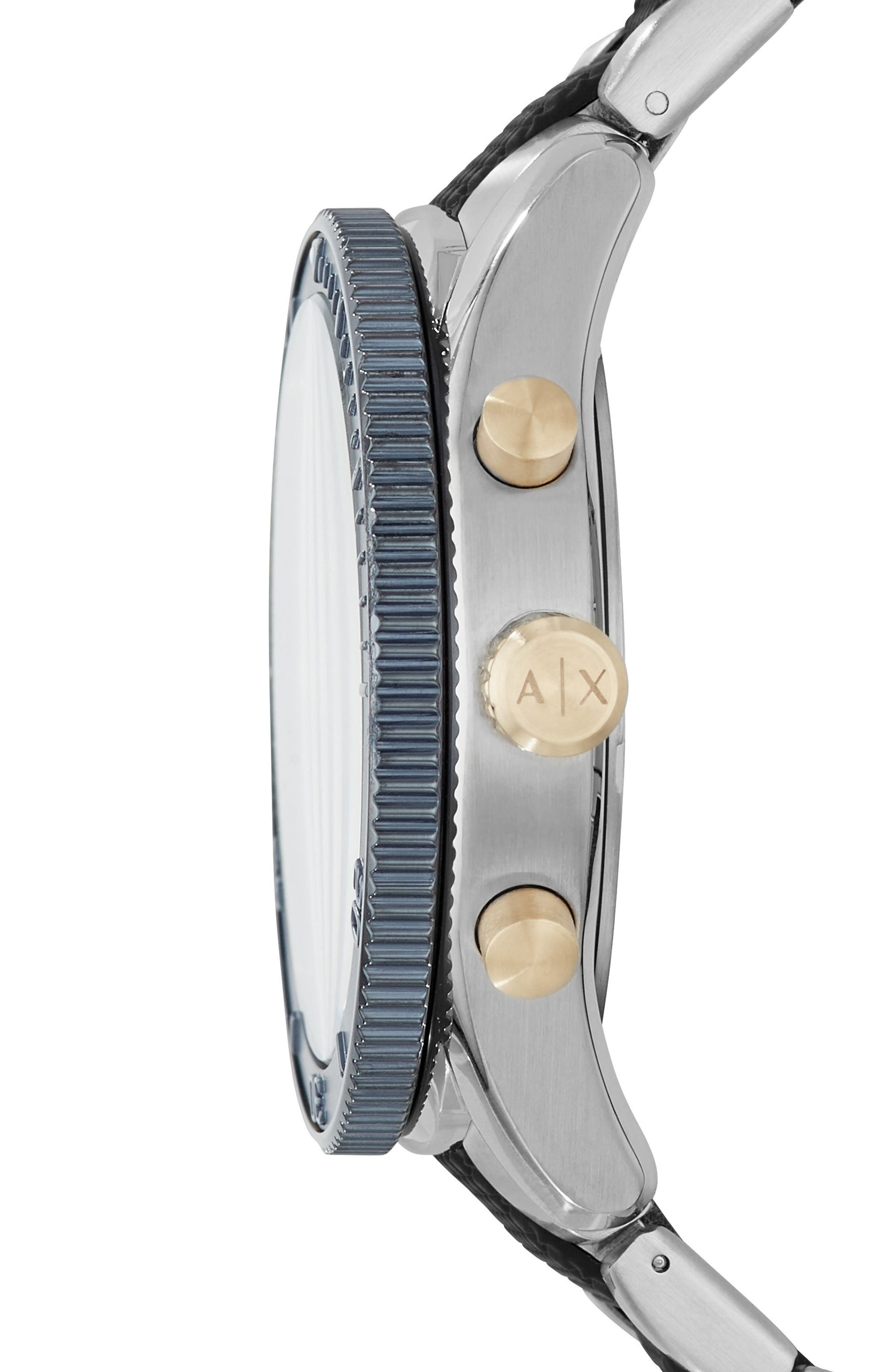 Chronograph Bracelet Watch, 46mm,                             Alternate thumbnail 2, color,                             Navy/ Stainless Steel