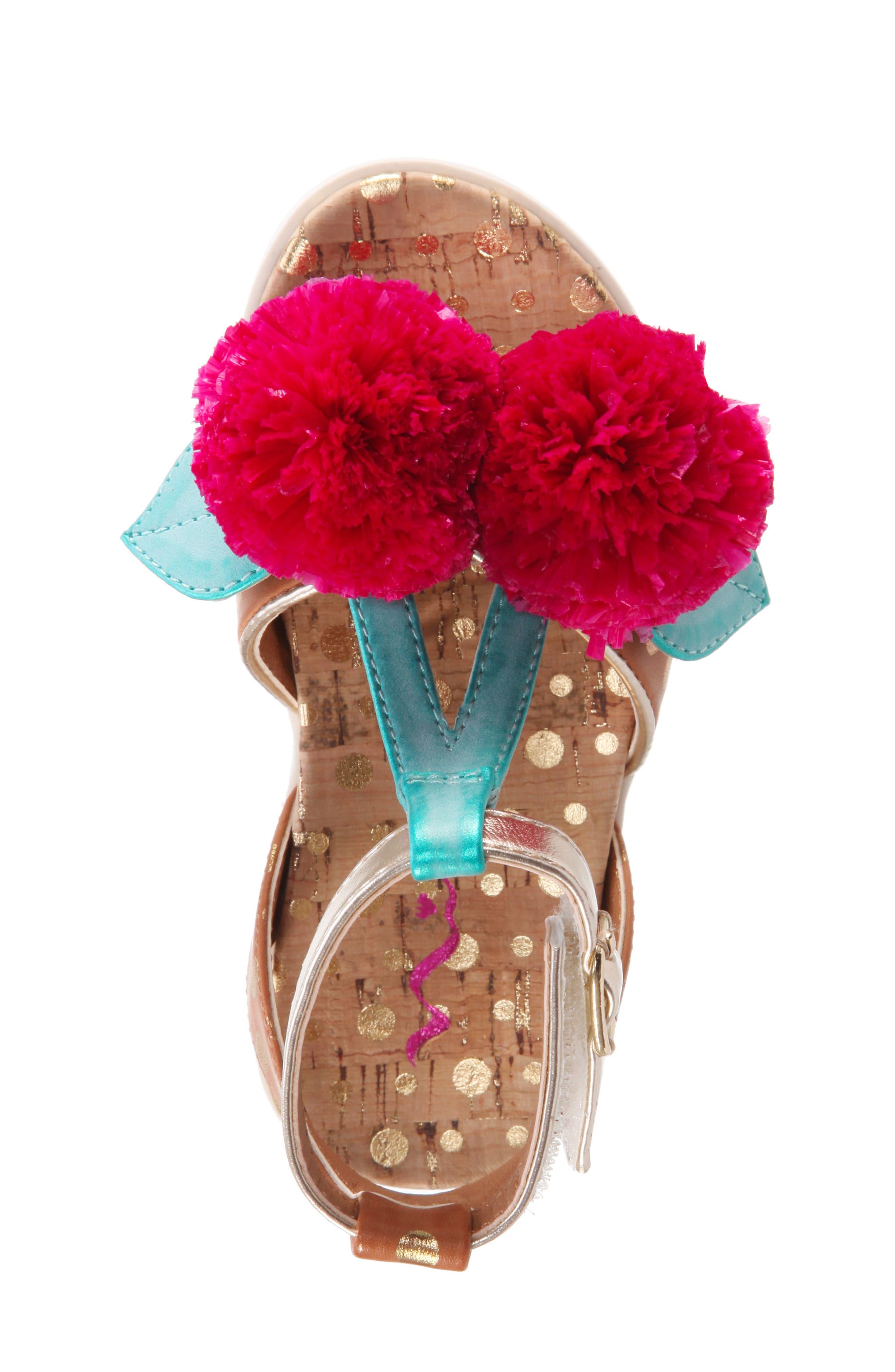 Kyeleigh Pom Flower Sandal,                             Alternate thumbnail 5, color,                             Light Tan Burnish