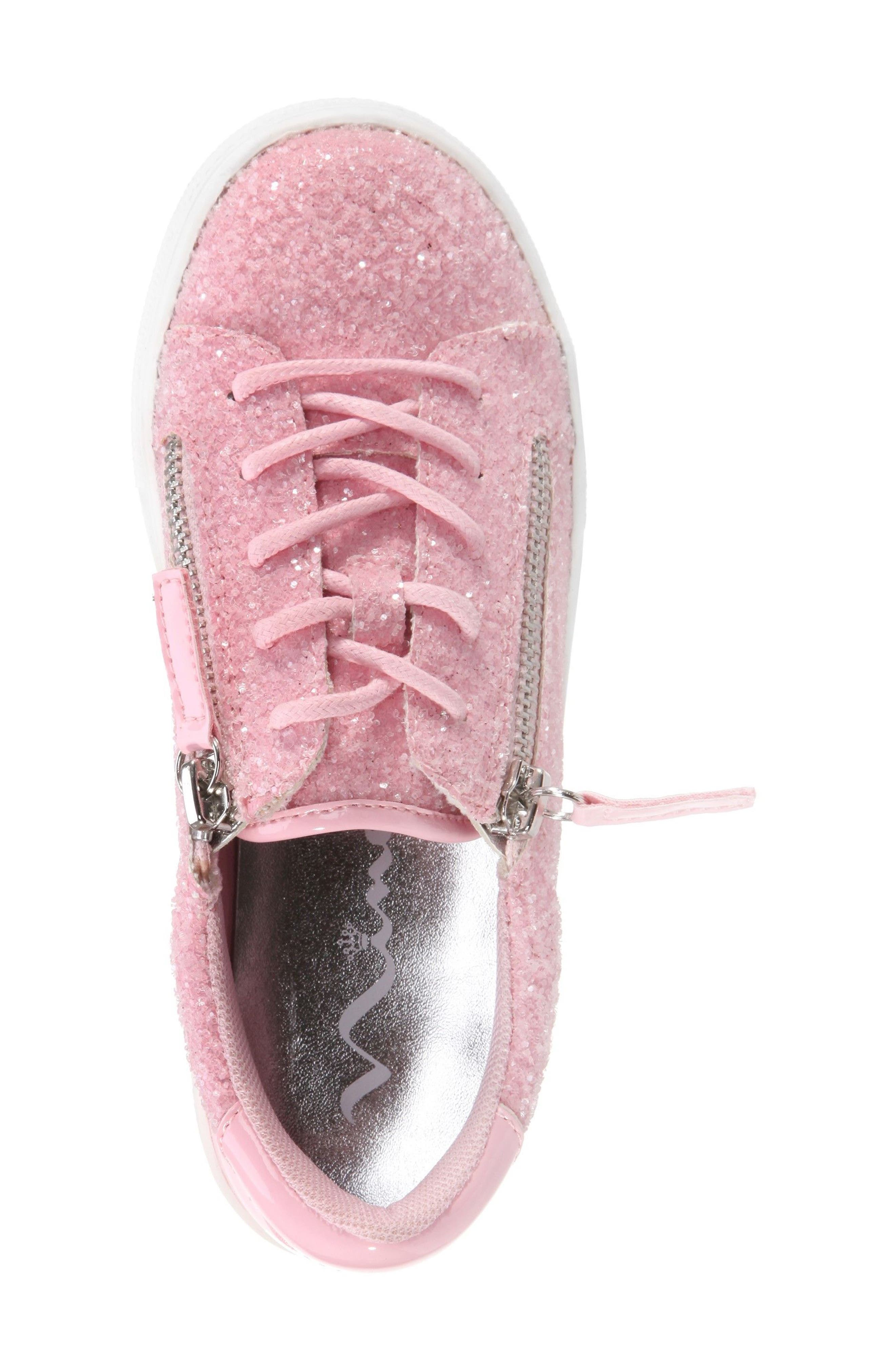 Jennalyn Glitter Sneaker,                             Alternate thumbnail 5, color,                             Light Pink Chunky Glitter