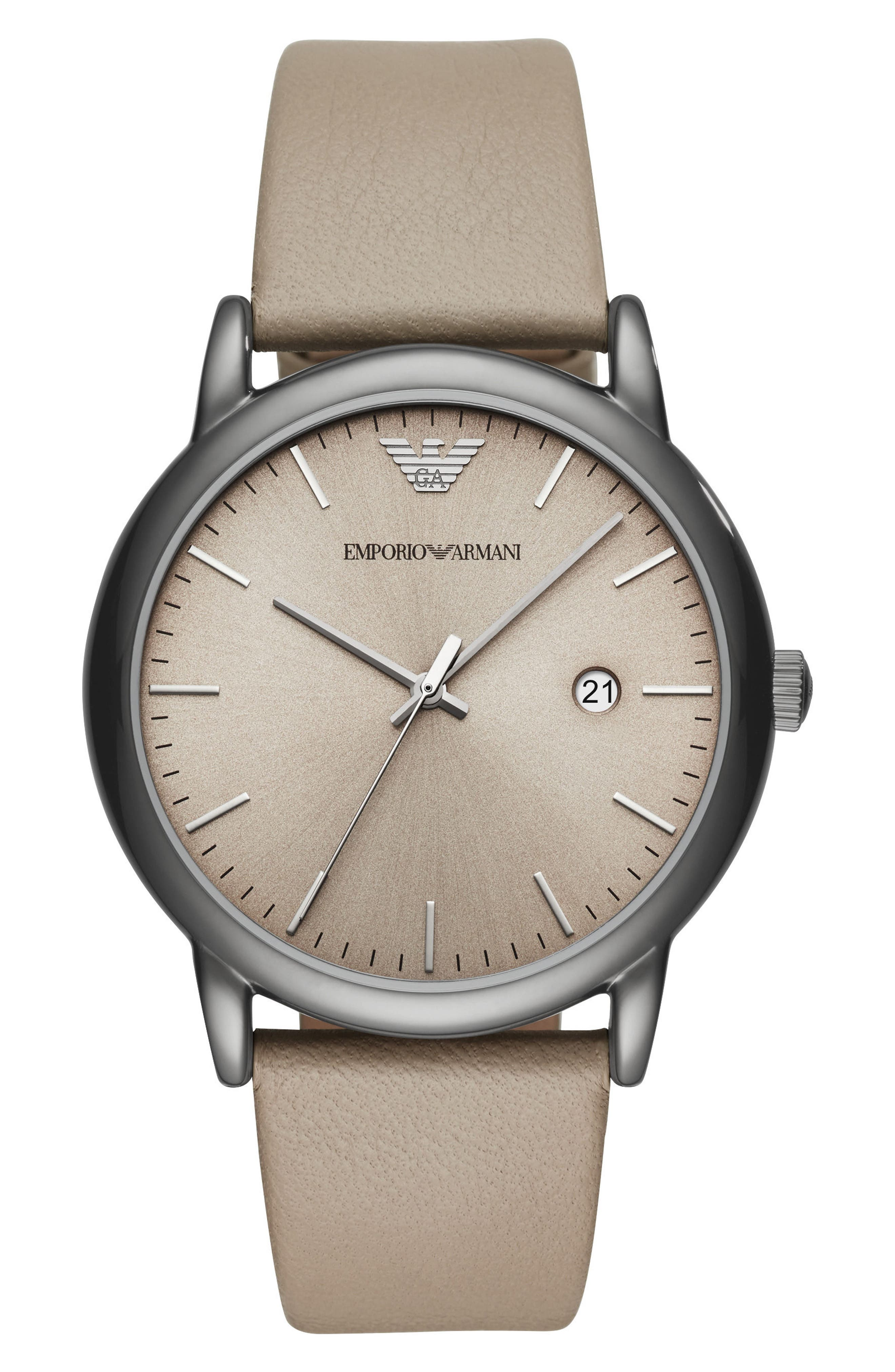 Round Leather Strap Watch, 43mm,                             Main thumbnail 1, color,                             Taupe/ Taupe