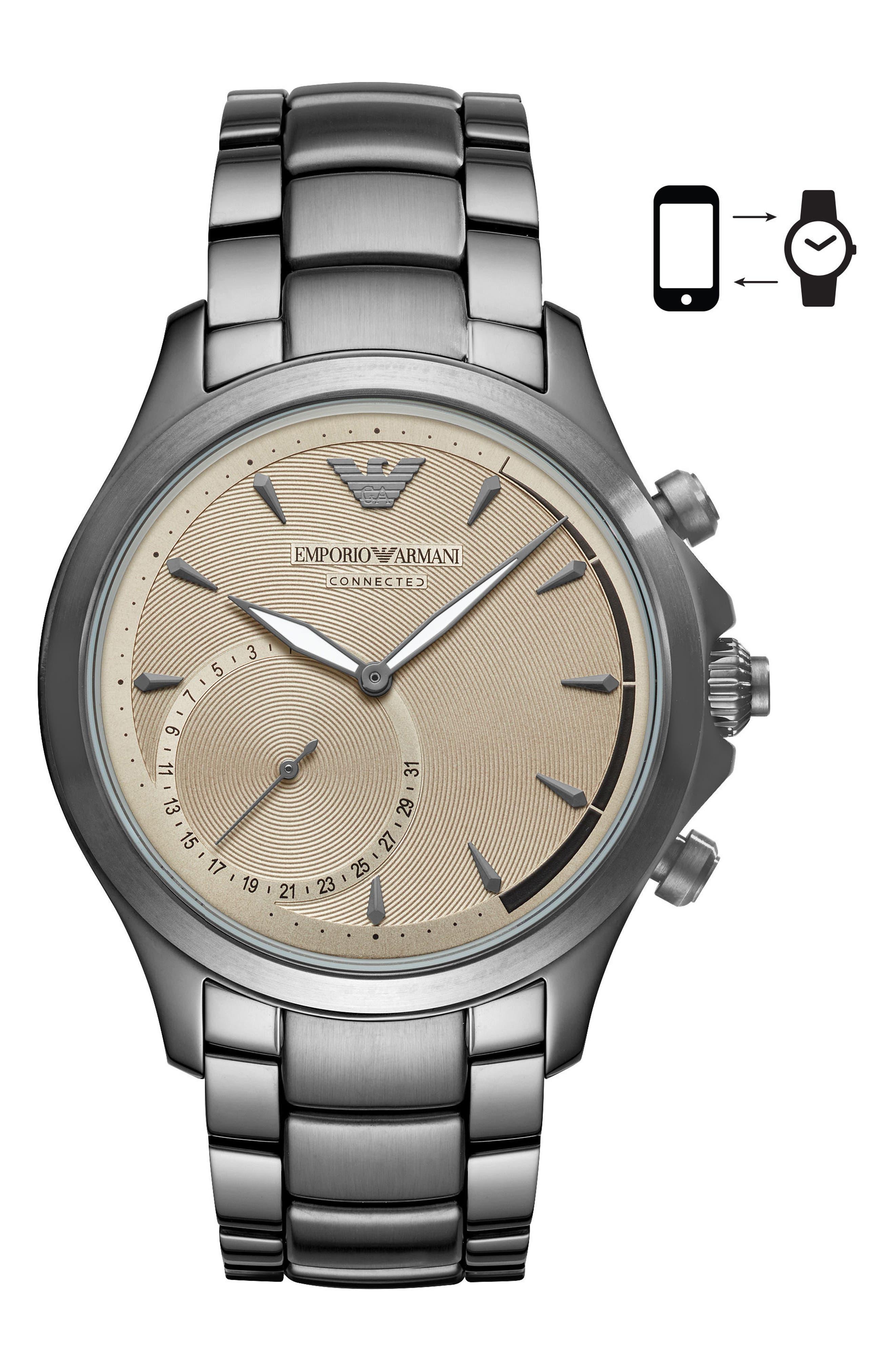 Hybrid Smartwatch, 43mm,                         Main,                         color, Tan/ Gunmetal
