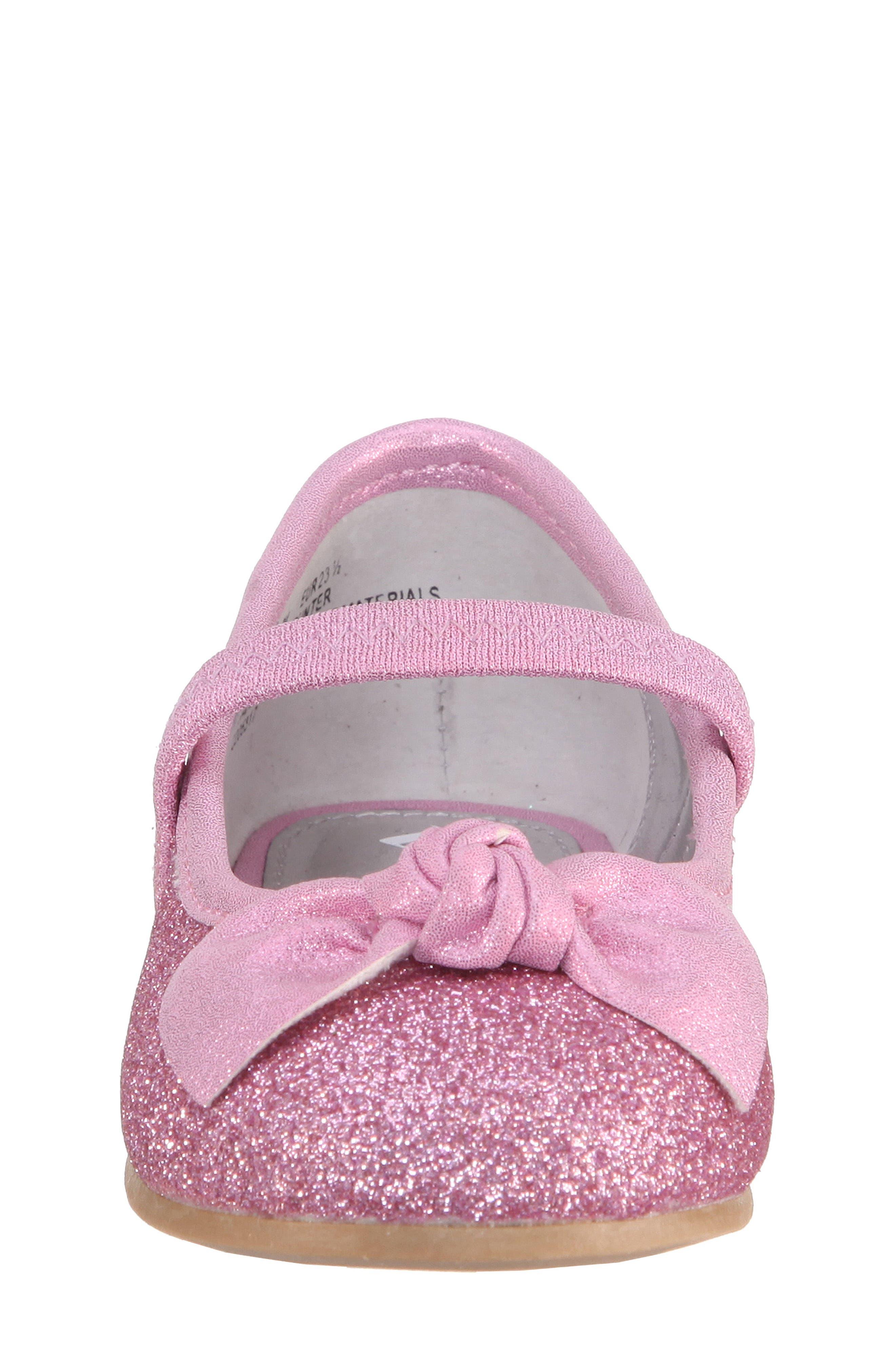 Larabeth-T Glitter Bow Ballet Flat,                             Alternate thumbnail 4, color,                             Light Pink Metallic/ Glitter