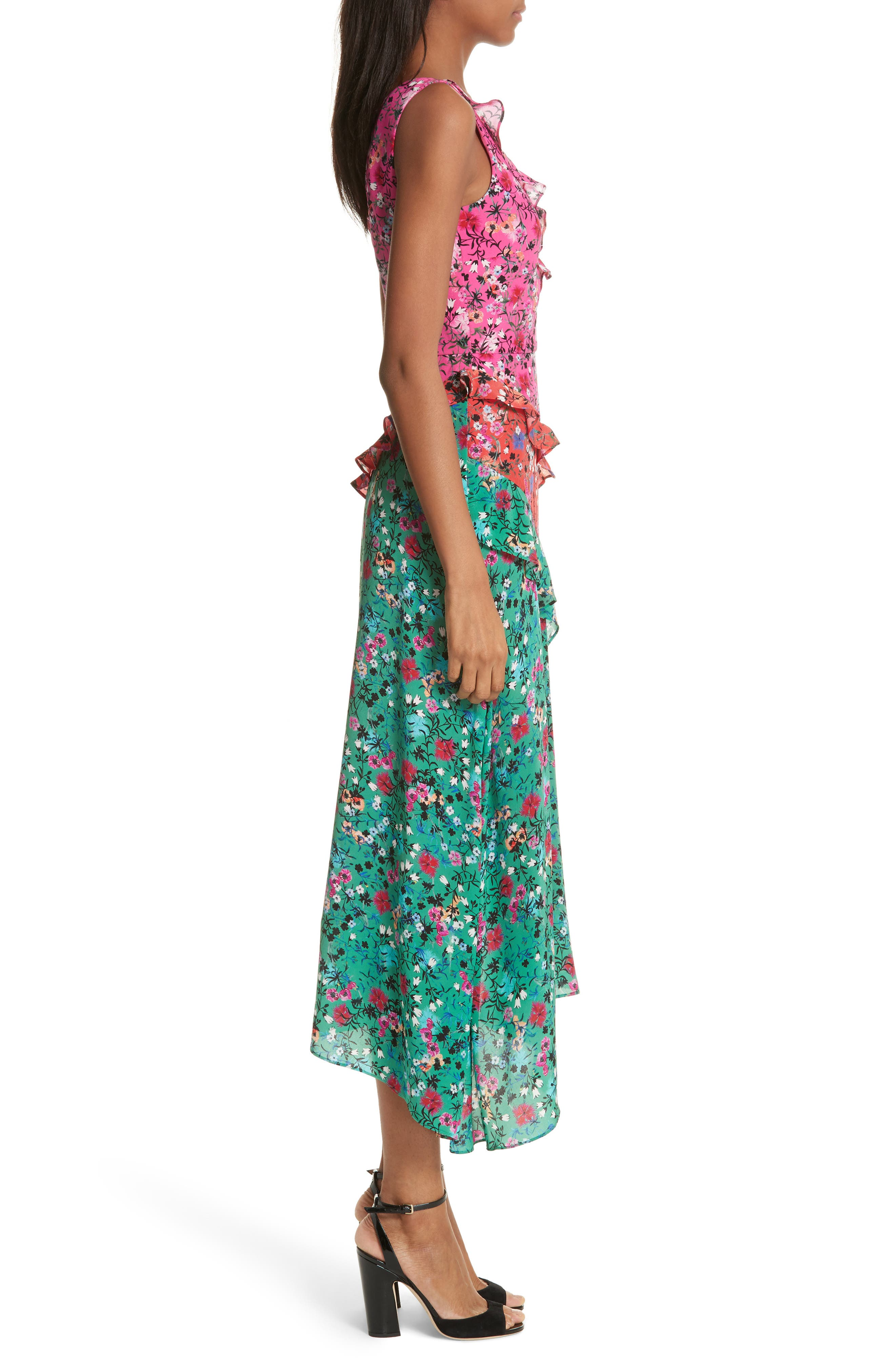 Aggie Floral Print Silk Dress,                             Alternate thumbnail 3, color,                             Pink Meadow