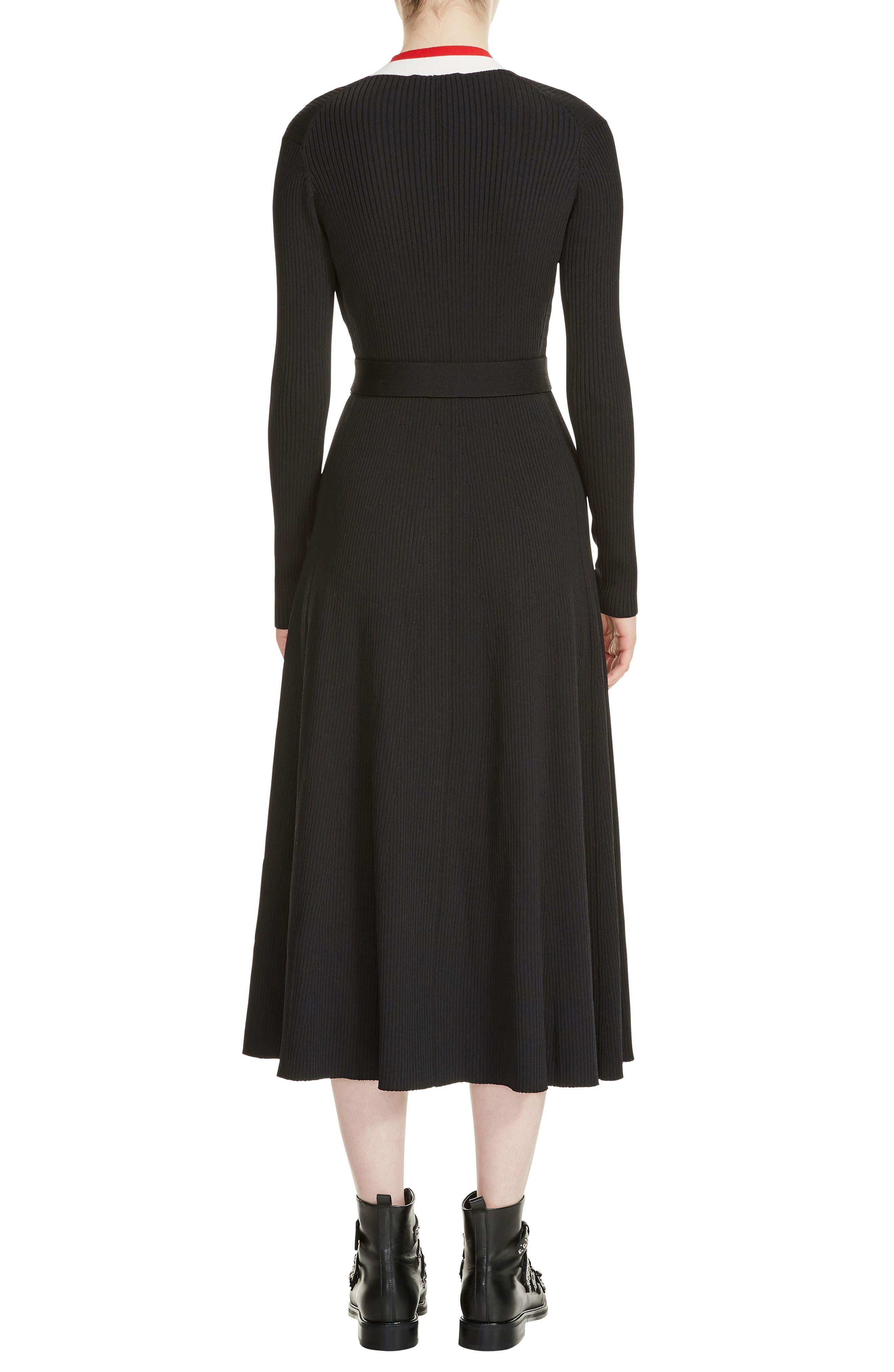 Rosiana Wrap Midi Dress,                             Alternate thumbnail 2, color,                             Black 210