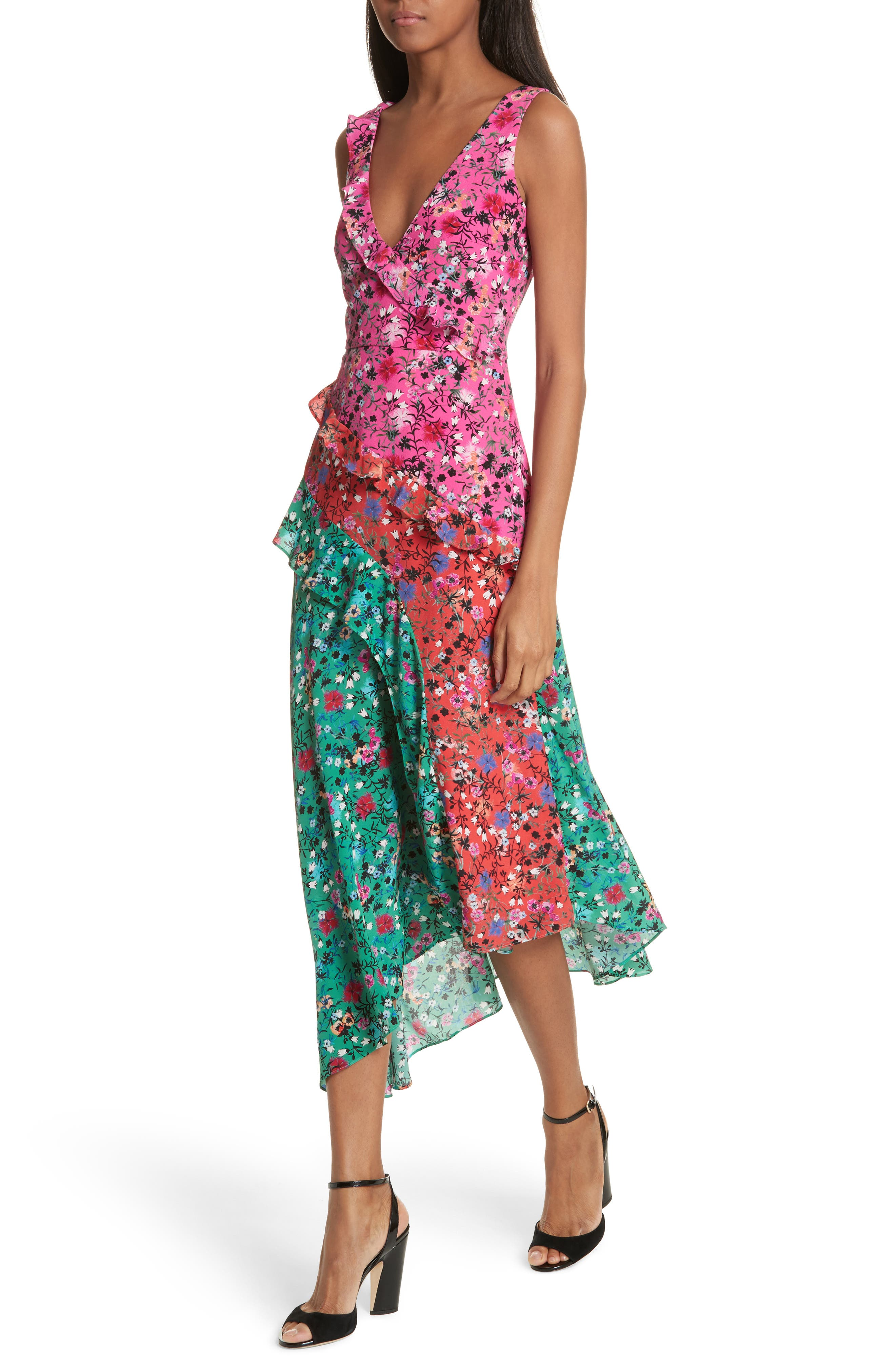 Aggie Floral Print Silk Dress,                             Alternate thumbnail 4, color,                             Pink Meadow