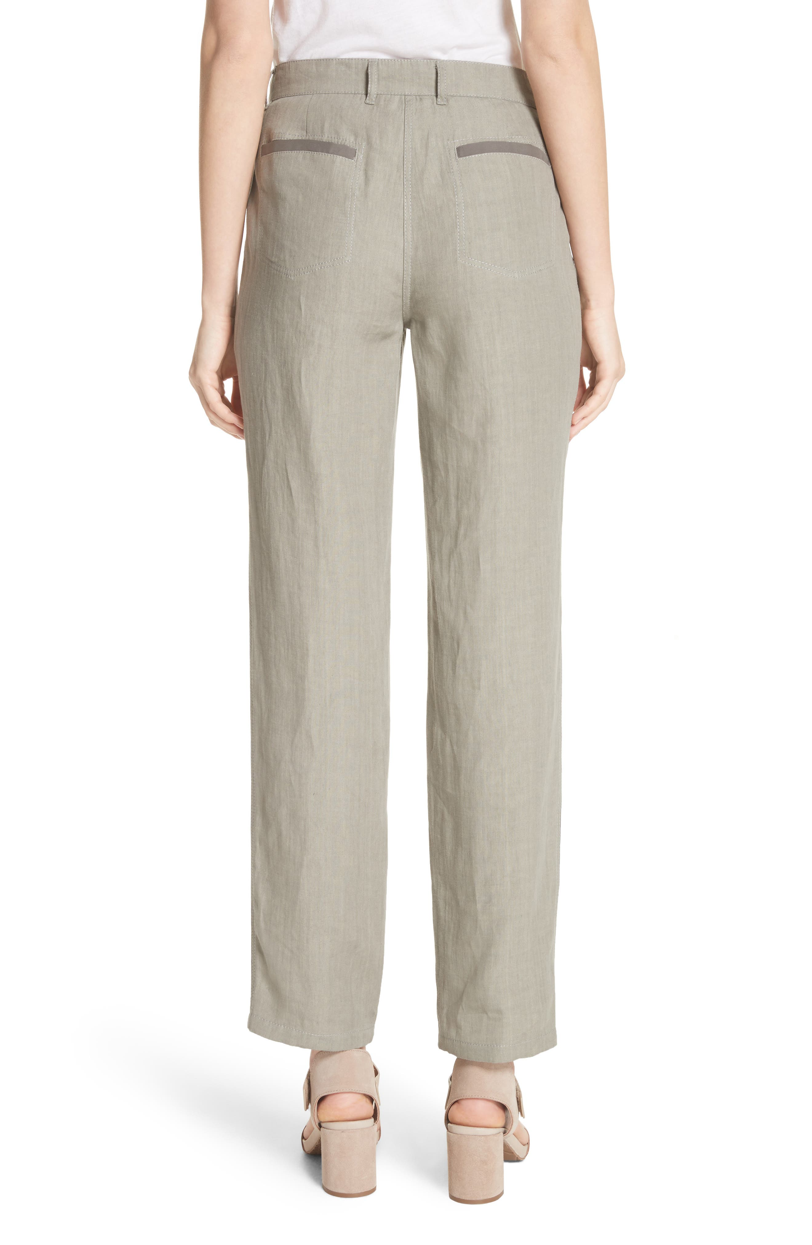 Fulton Linen Crop Pants,                             Alternate thumbnail 2, color,                             Fog